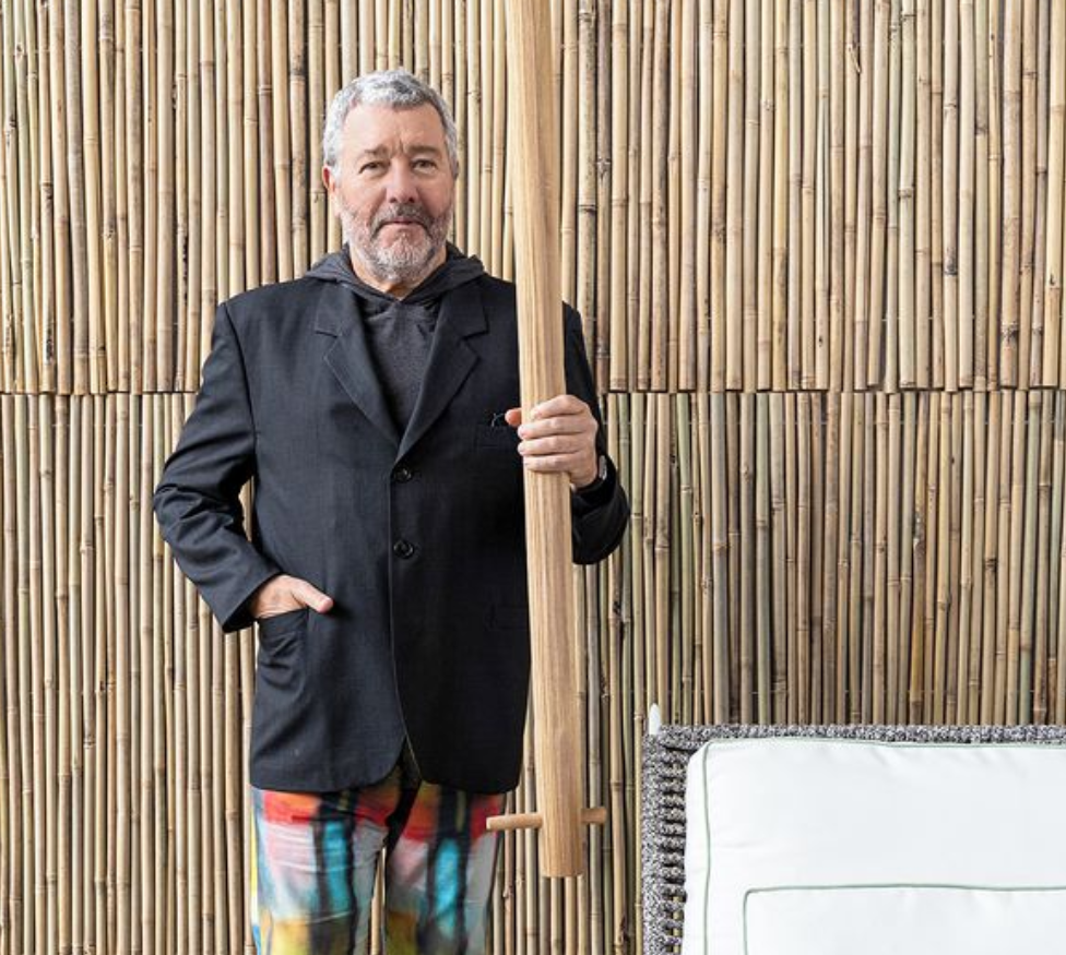 Image via Instagram   @starck    Philippe Starck celebrating a win from the 2021 Wallpaper Magazine Design Awards.
