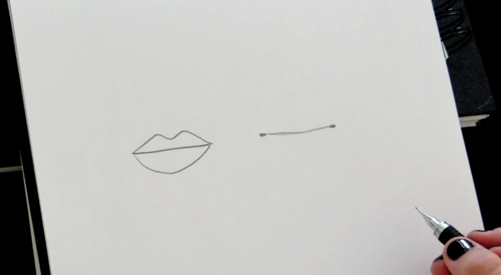 Start your lips sketch with a single line.