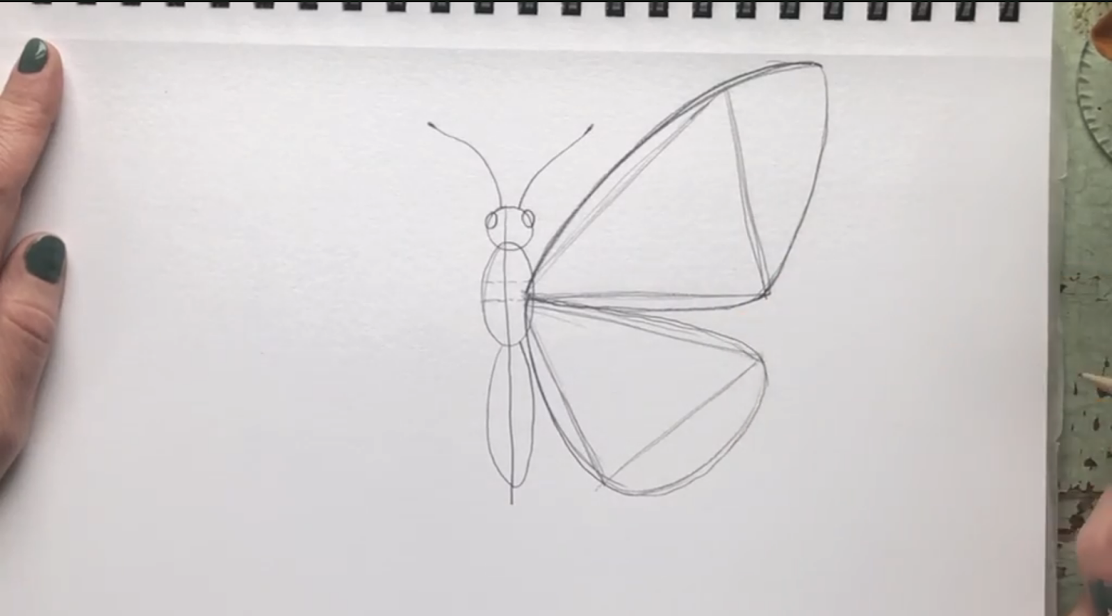 Draw the outline of the top wing by going around the triangle with curved lines.