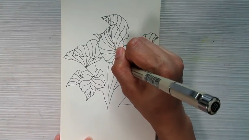 Simple leaves and flowers can easily be broken down into multiple single lines that will ultimately create your finished design.