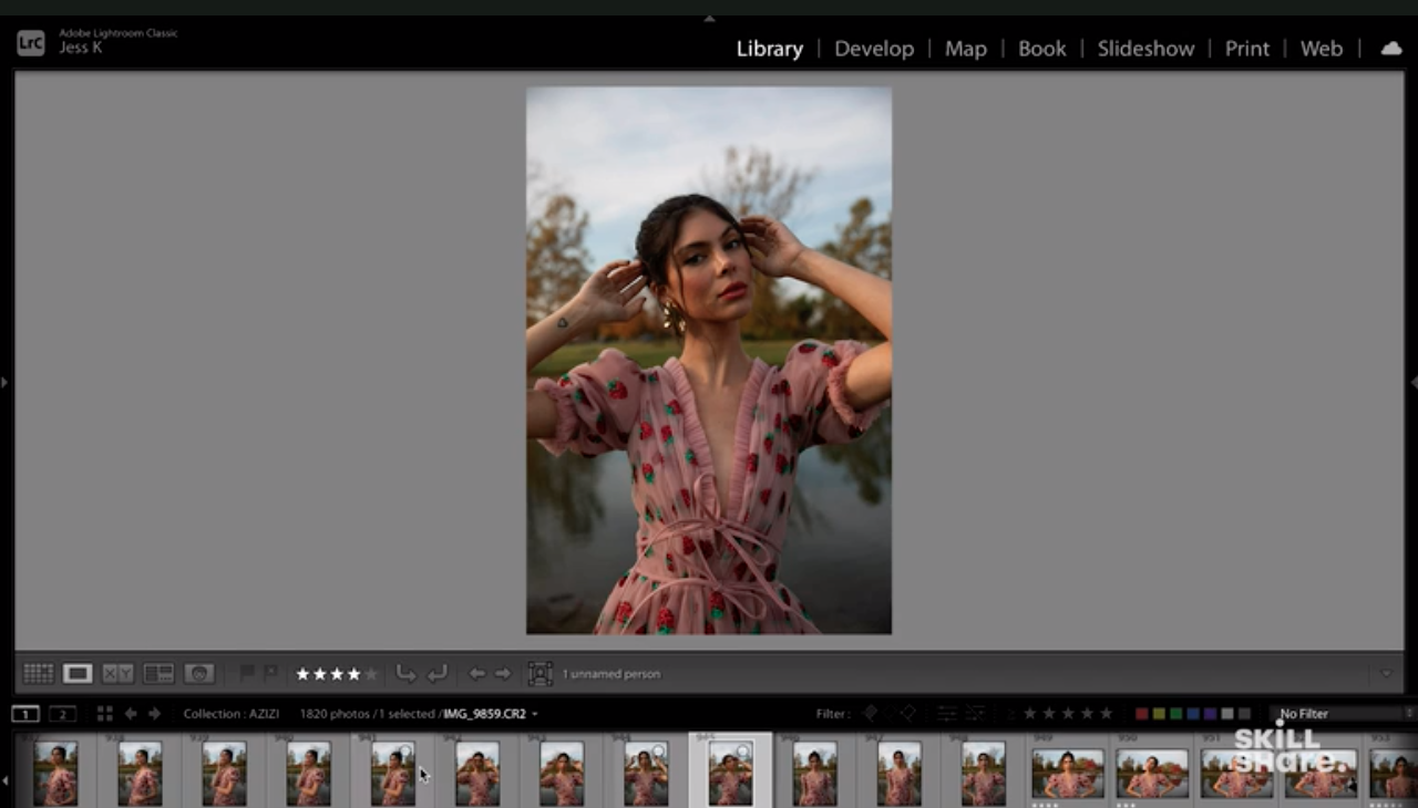 Skillshare instructor and photographer Jessica Kobeissi ranks her photos using the star-rating on Lightroom, which you can see in the bottom left.