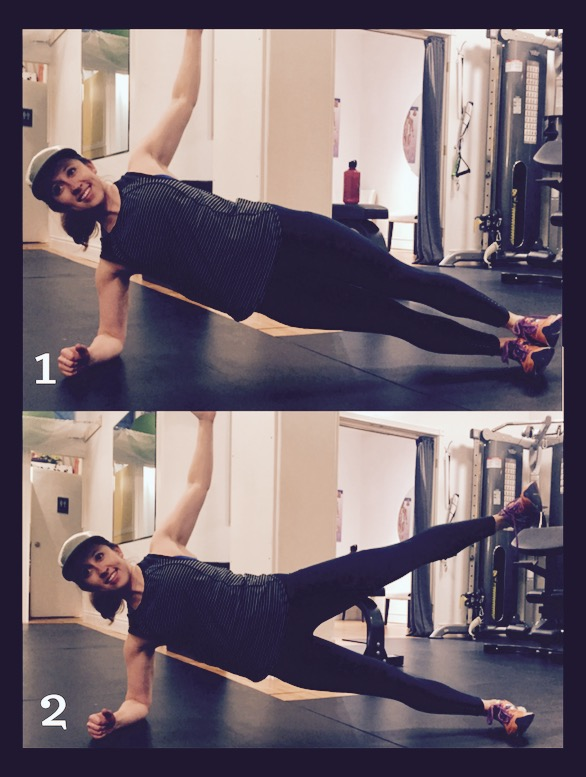 Side Plank Star -30 sec/side. Straight spine, elbow right underneath your shoulder, squeeze your glutes, and hold your top leg up.
