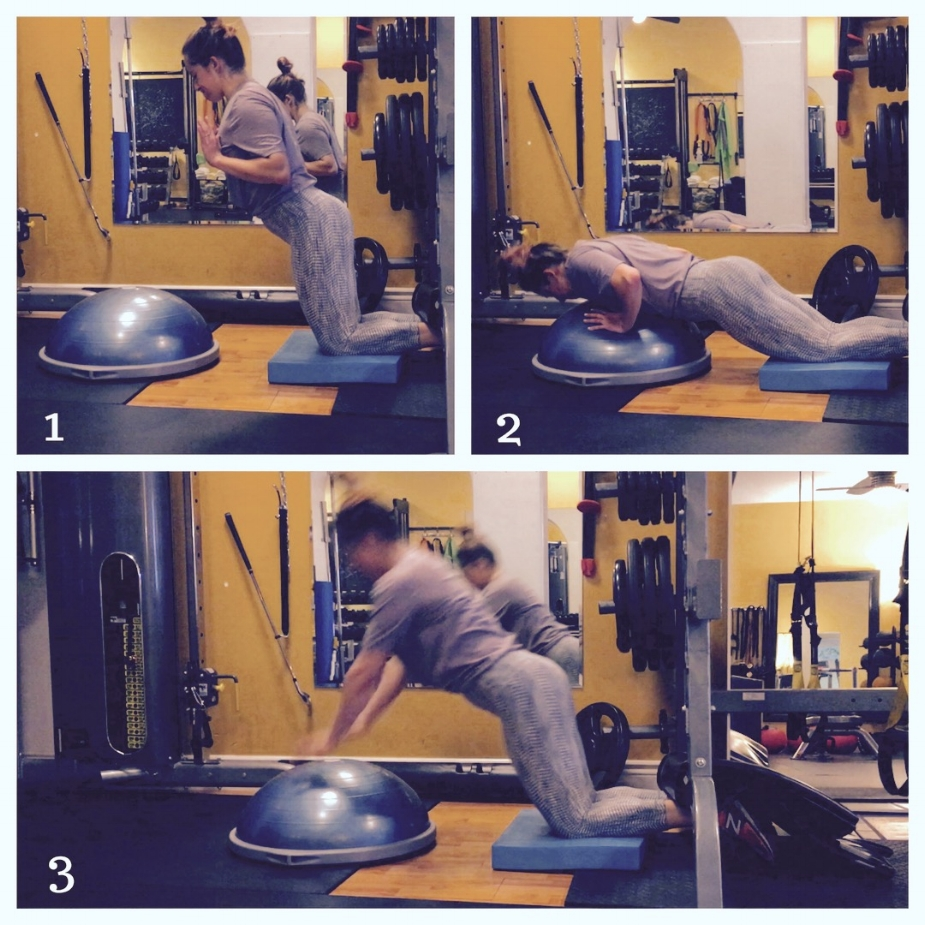 Glute Ham Raise with Bosu:  Adding the bosu will decrease the difficulty of the exercise since you will have less distance to travel and can push yourself back up to the starting position easier.