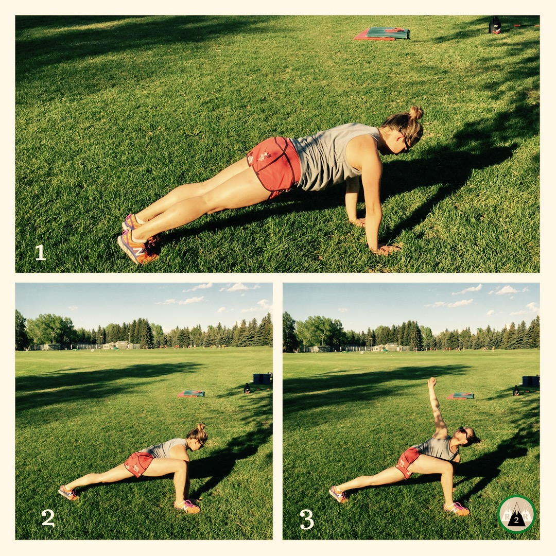 Runners Stretch:  Warming up hips, hamstrings, and spine. Start in a plank, bring up your right leg then twist and reach for the sky with your right arm. Hold for a couple of seconds and then switch sides. Keep your front foot flat. 5-8 reps/side.