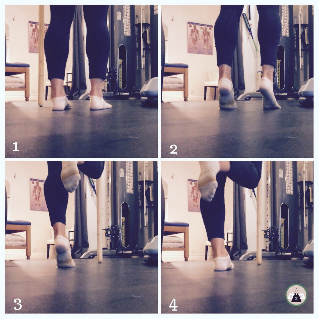 Eccentric Calf Raises:  Start by standing on both feet and then press up onto your tip toes. From there balance on one foot and then slowly lower down back to the ground using only the one foot. You can stand in front of a wall or hold onto a chair to stay balanced. Do 2 sets of 12-15 reps/side.   To target your soleus more, you can do this exercise seated and place a weight onto your knees.