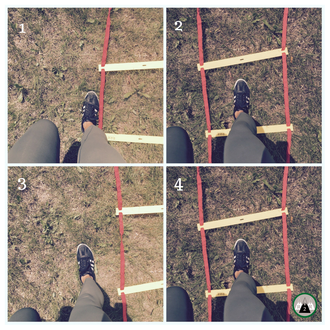 Agility ladder- Single leg In & Out hops:  Start by standing on your right foot on the left side of the ladder. Hop sideways into the square, then hop back out but forwards to the next square. Repeat all the way to the end. Turn around and repeat on your left leg.