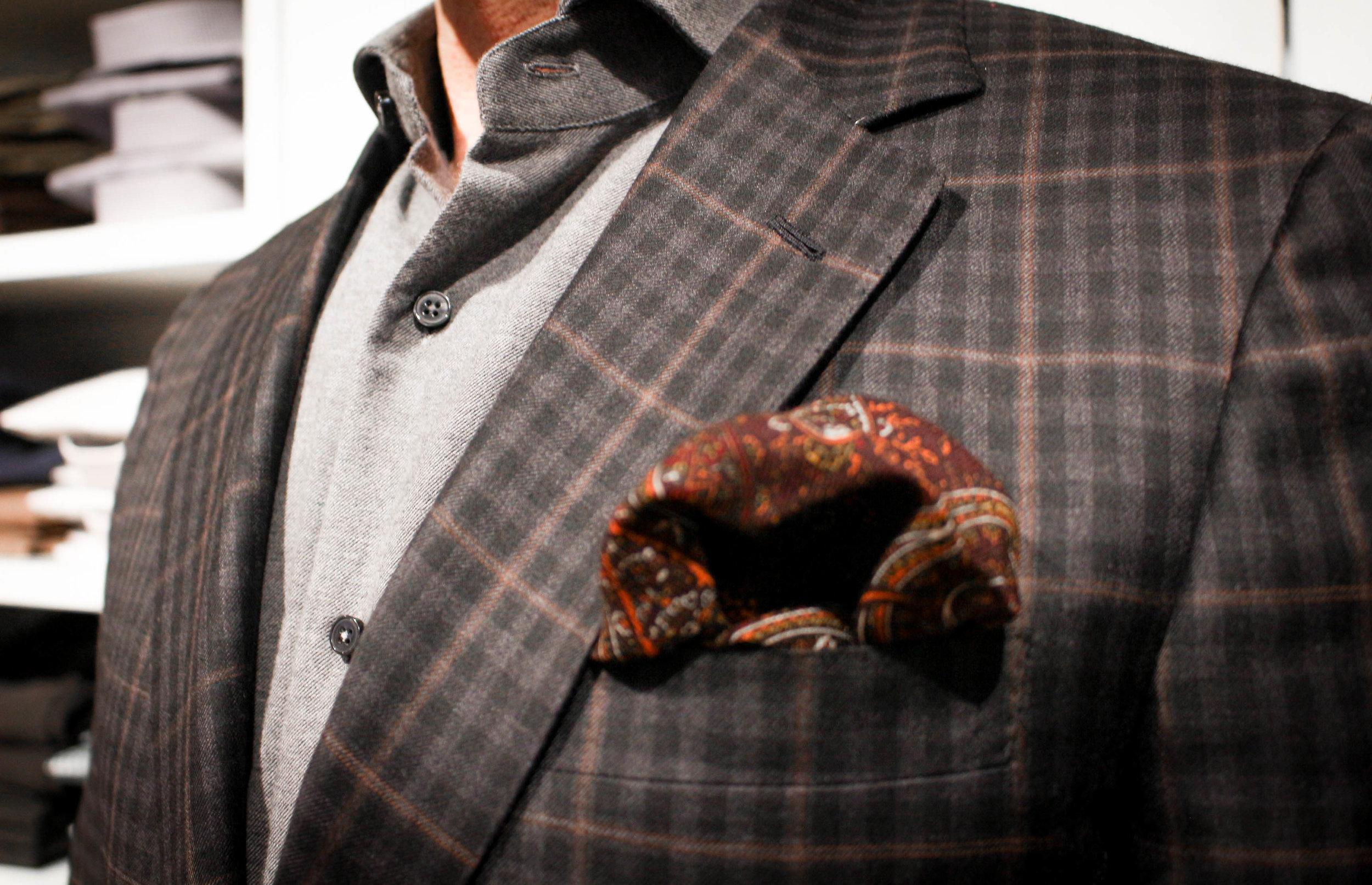 Custom fitted sport coat shoulder