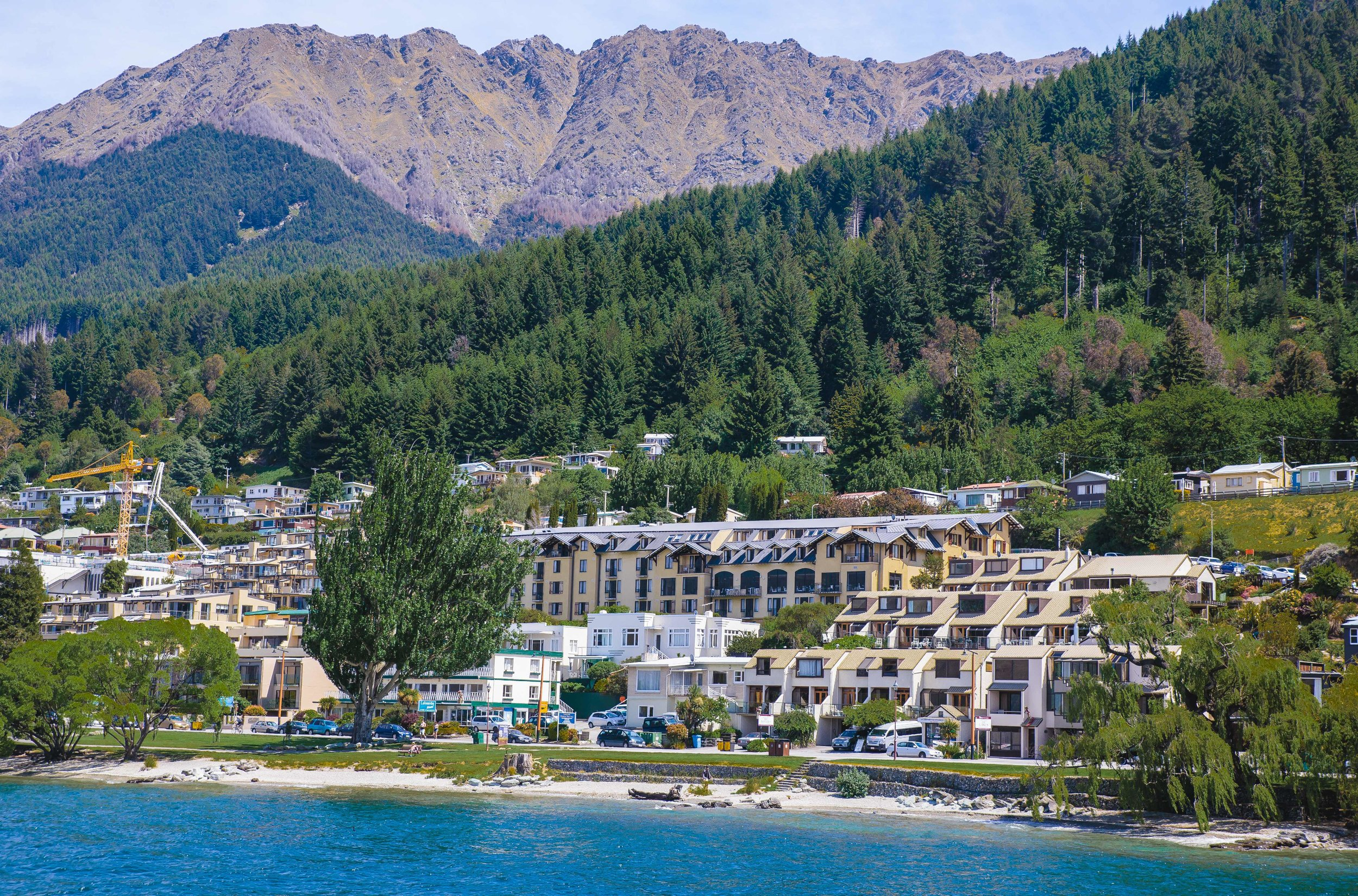 The view of the Hotel St Moritz while on the TSS Earnslaw