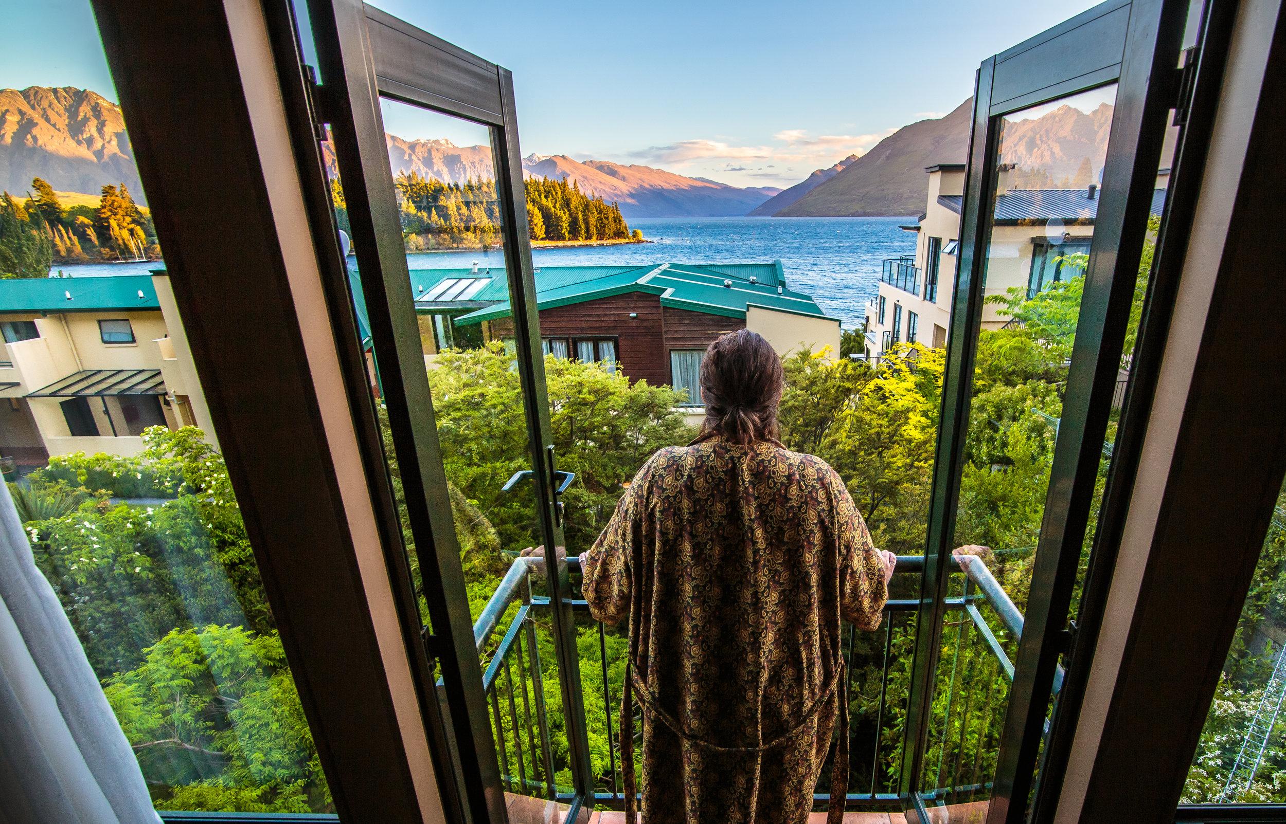 The view from the balcony of Lake Wakatipu