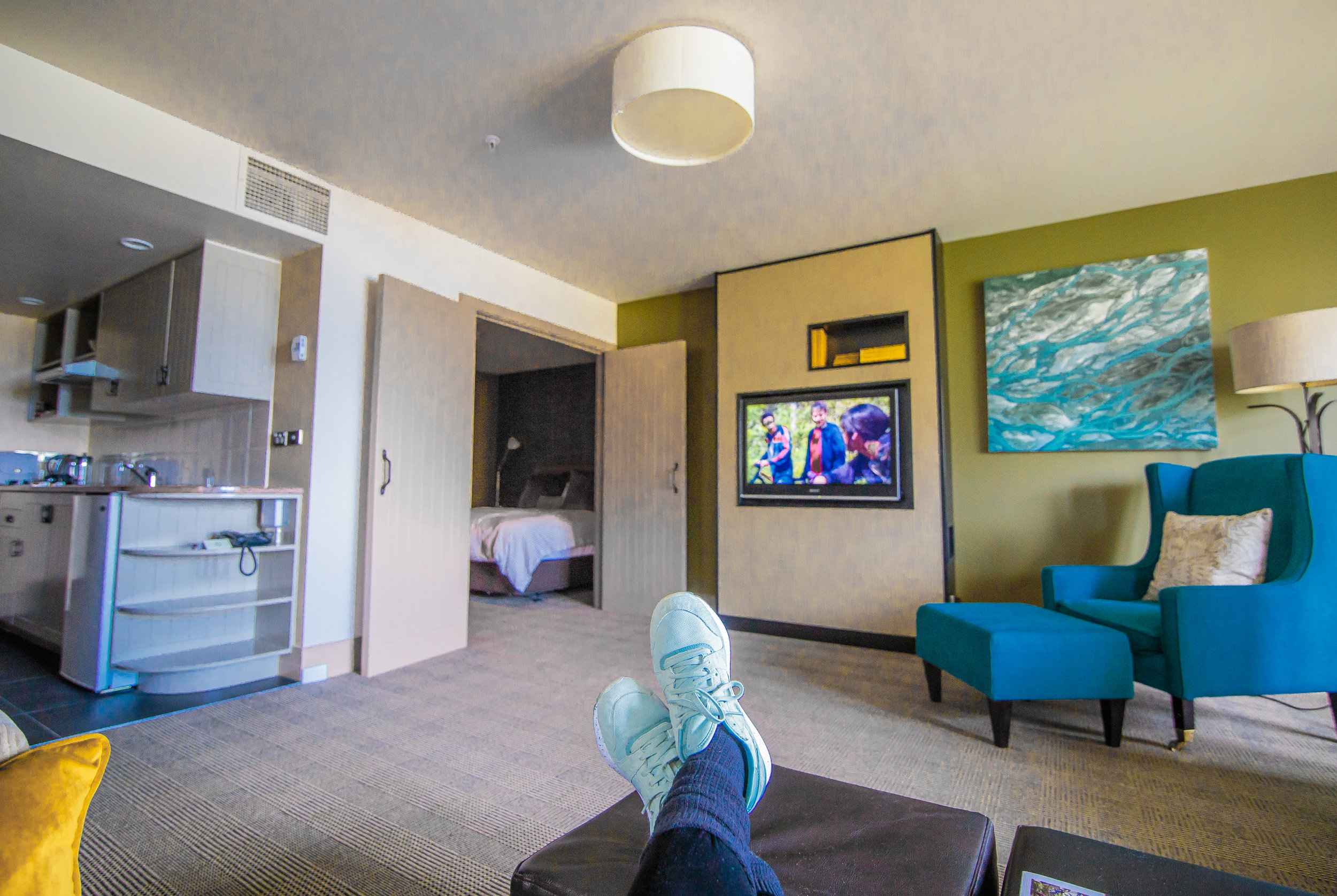 The lovely living room area of the suite