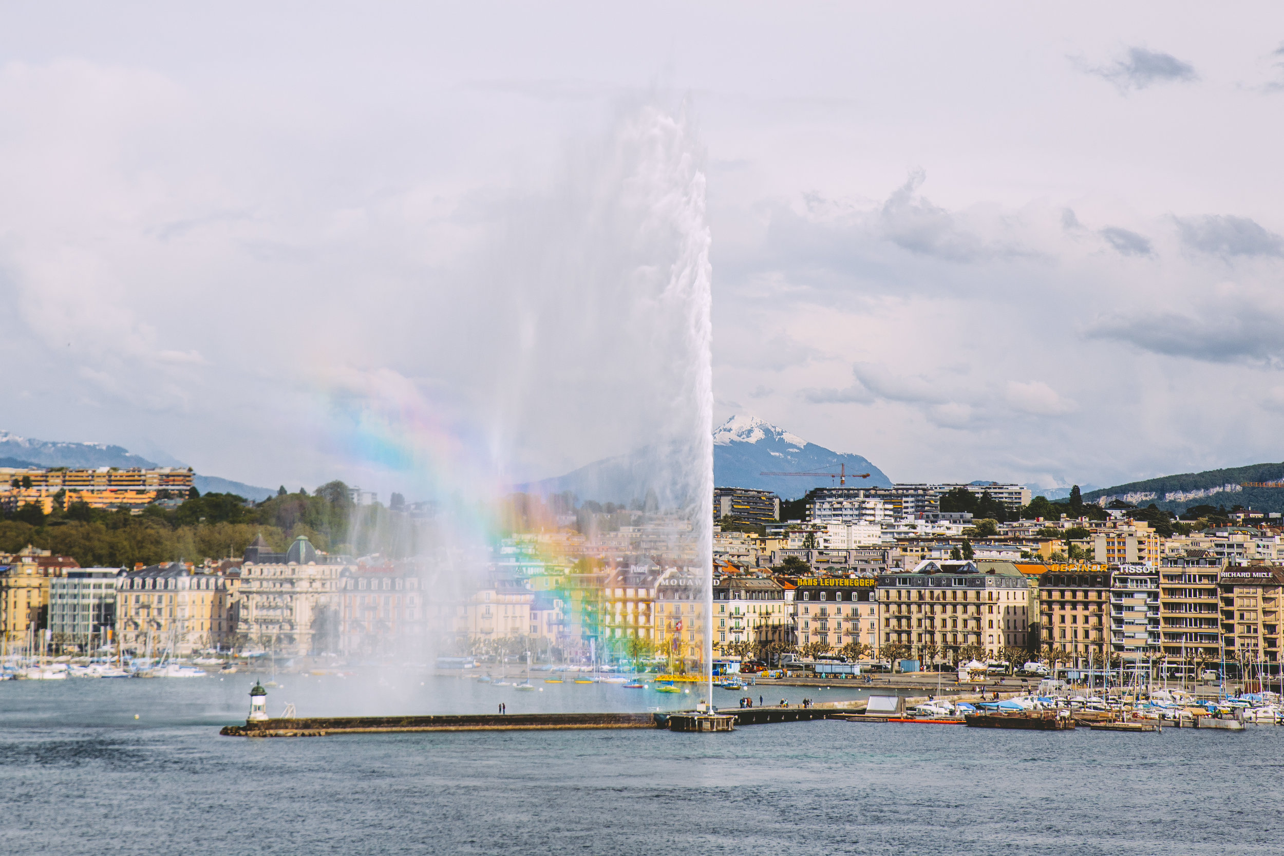 The Jet D'Eau putting on a show from my room