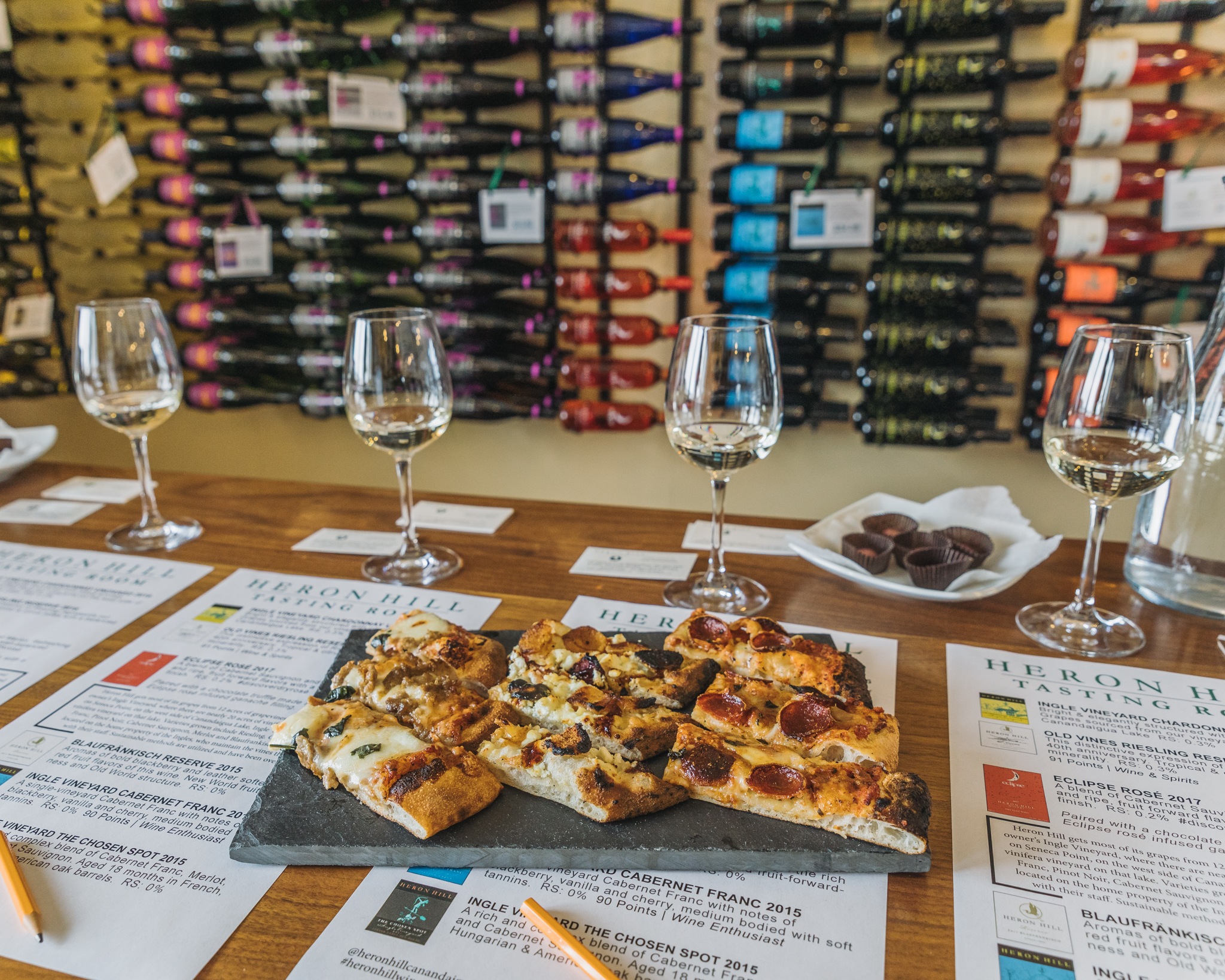 Pizza and wine at Heron Hill Tasting Room // 3 Days in the Finger Lakes: A Wine Trail Itinerary