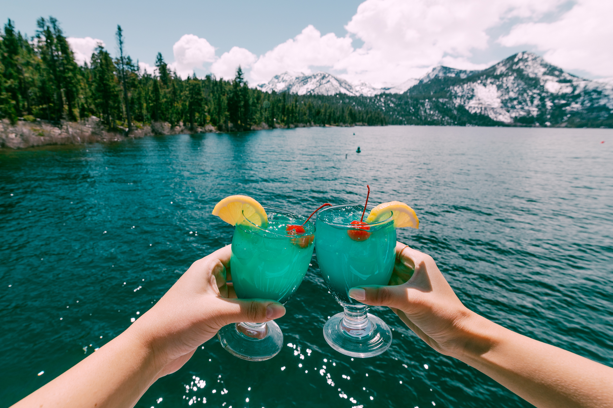 Emerald Bay-themed drinks while cruising Lake Tahoe // A Quick Guide to North Lake Tahoe & Reno