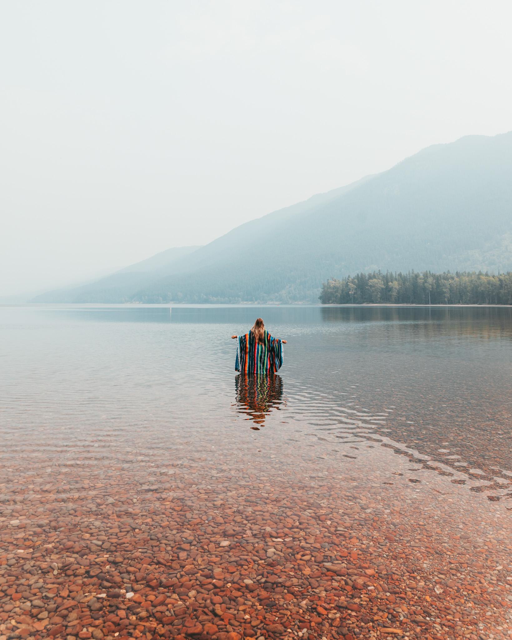 Lake McDonald obscured by smoke of Howe Ridge Fire in August 2018