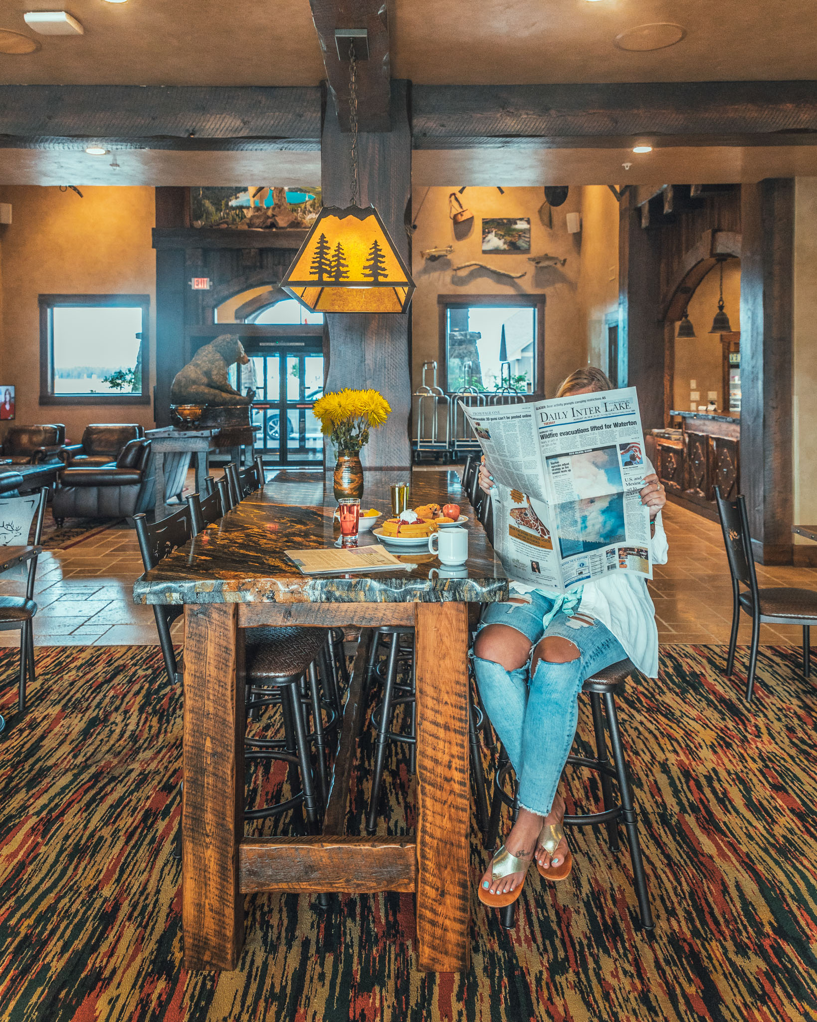 Breakfast included at the Country Inn and Suites by Radisson in Kalispell, Montana near Glacier National Park