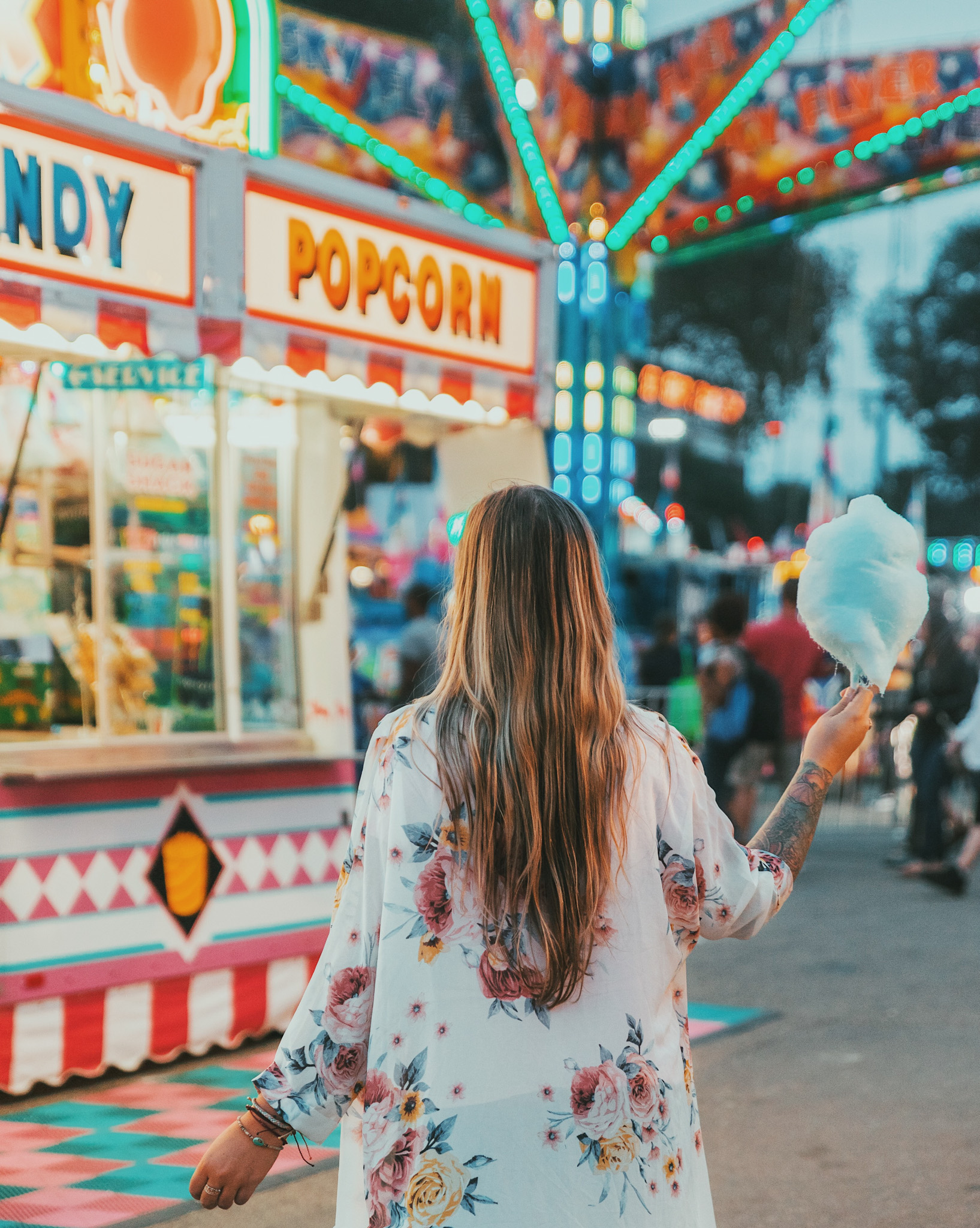 Girl with cotton candy at the Minnesota State Fair in Minneapolis