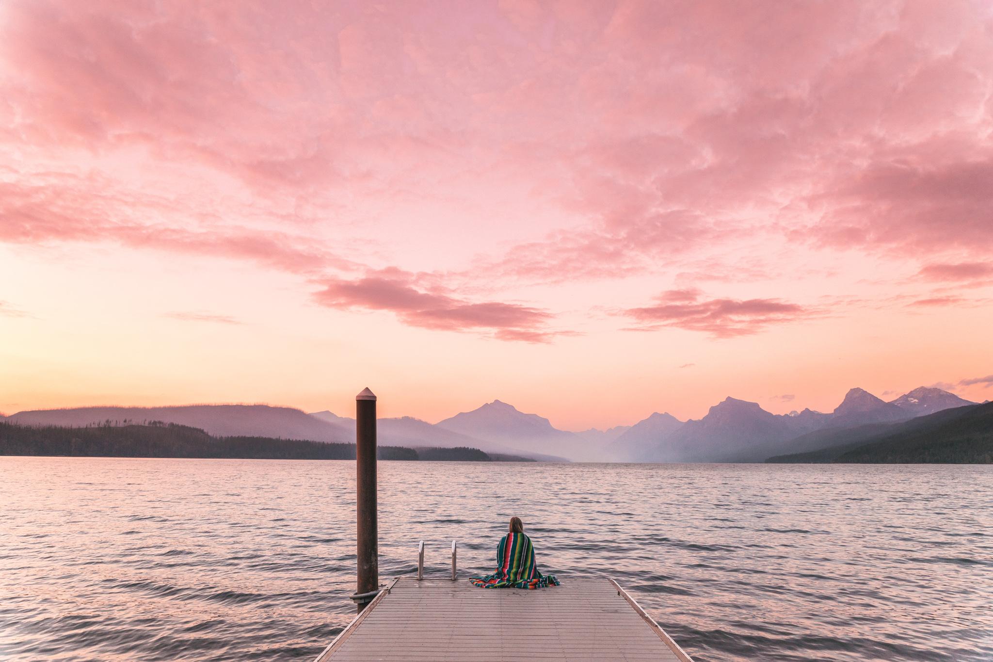 Pink sunset at Lake McDonald in Glacier National Park Montana