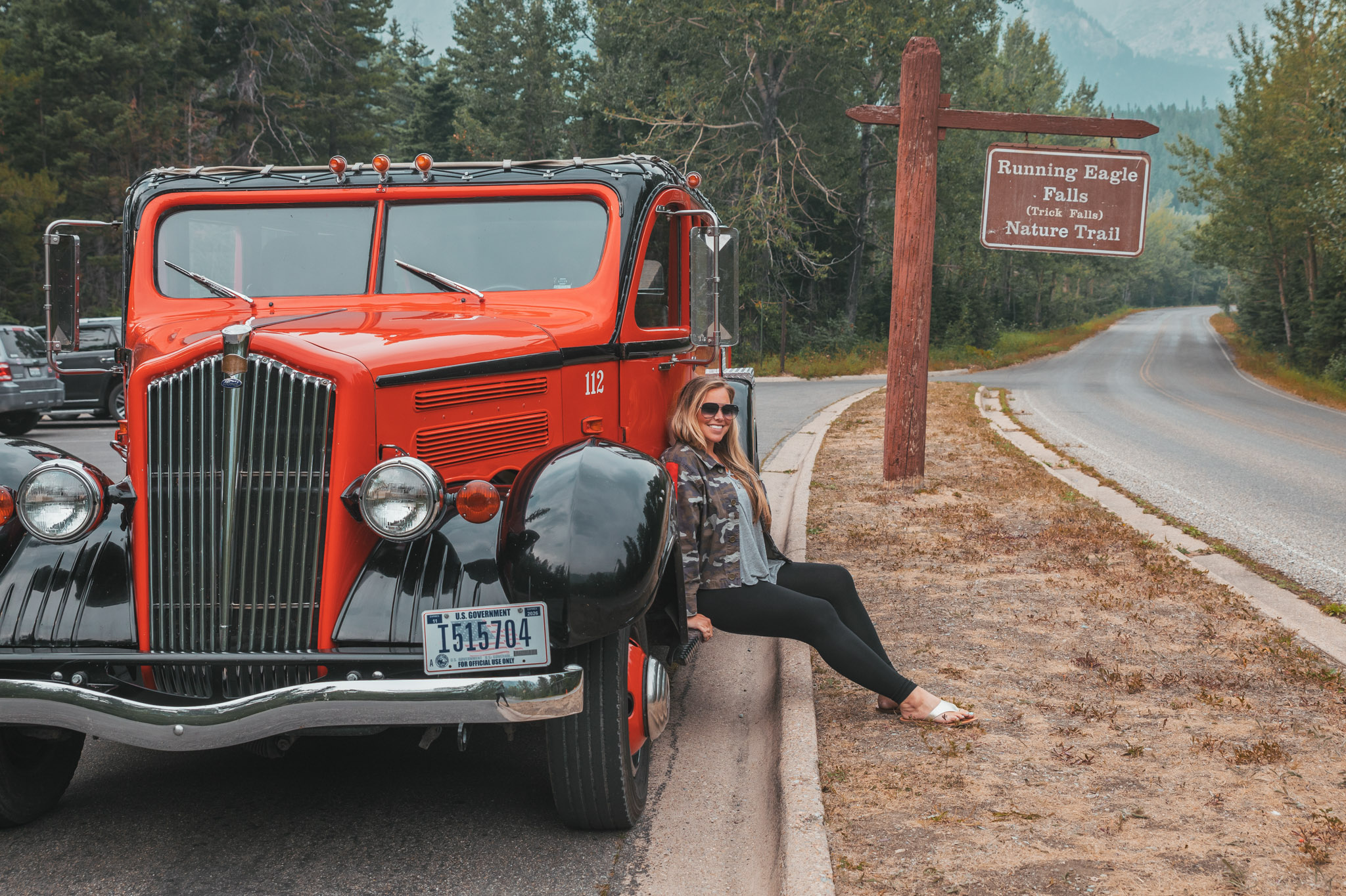 "1930s Red ""Jammer"" Bus in Glacier National Park Montana"