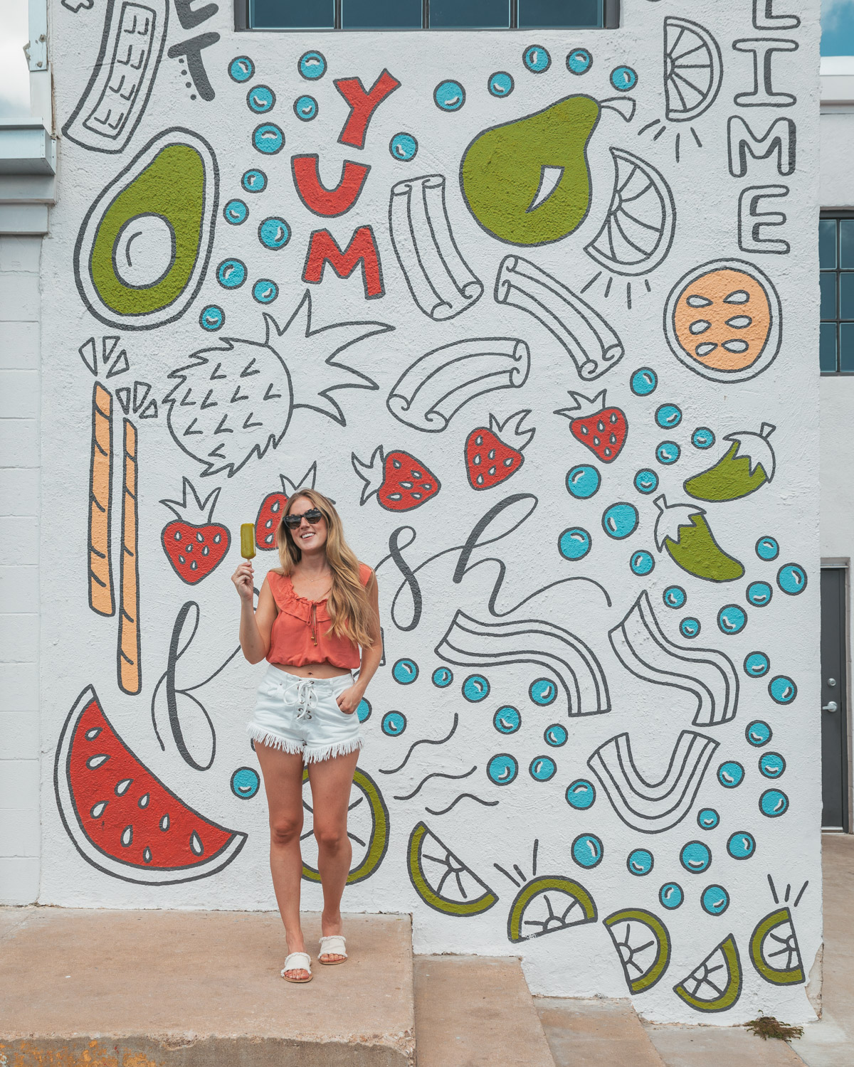Yum, Fresh mural at Steel City Pops in Downtown Austin