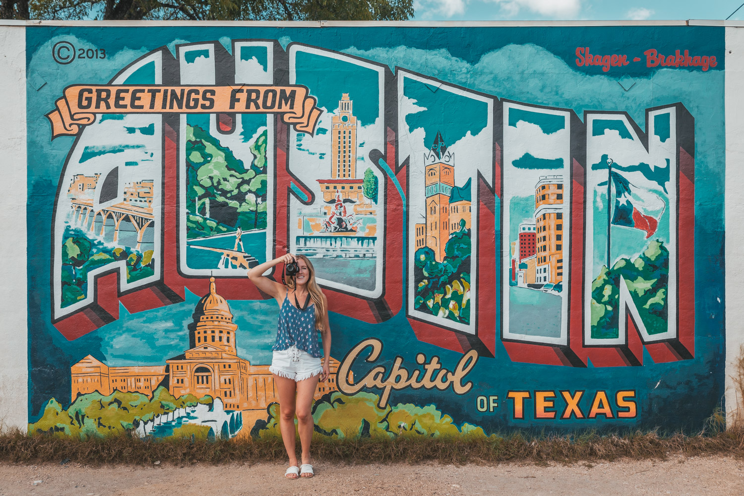 Greetings From Austin postcard Mural on South 1st Street in Austin