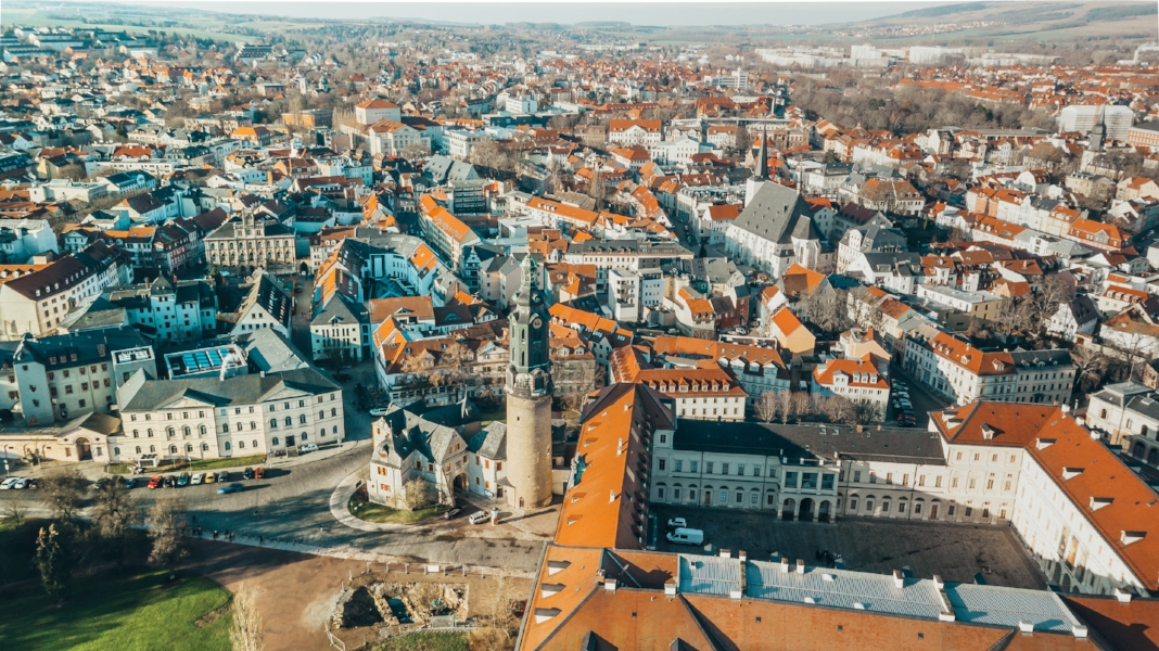 The city of Weimar from above by drone // German Christmas Markets and Beyond: A Trip to Thuringia in December