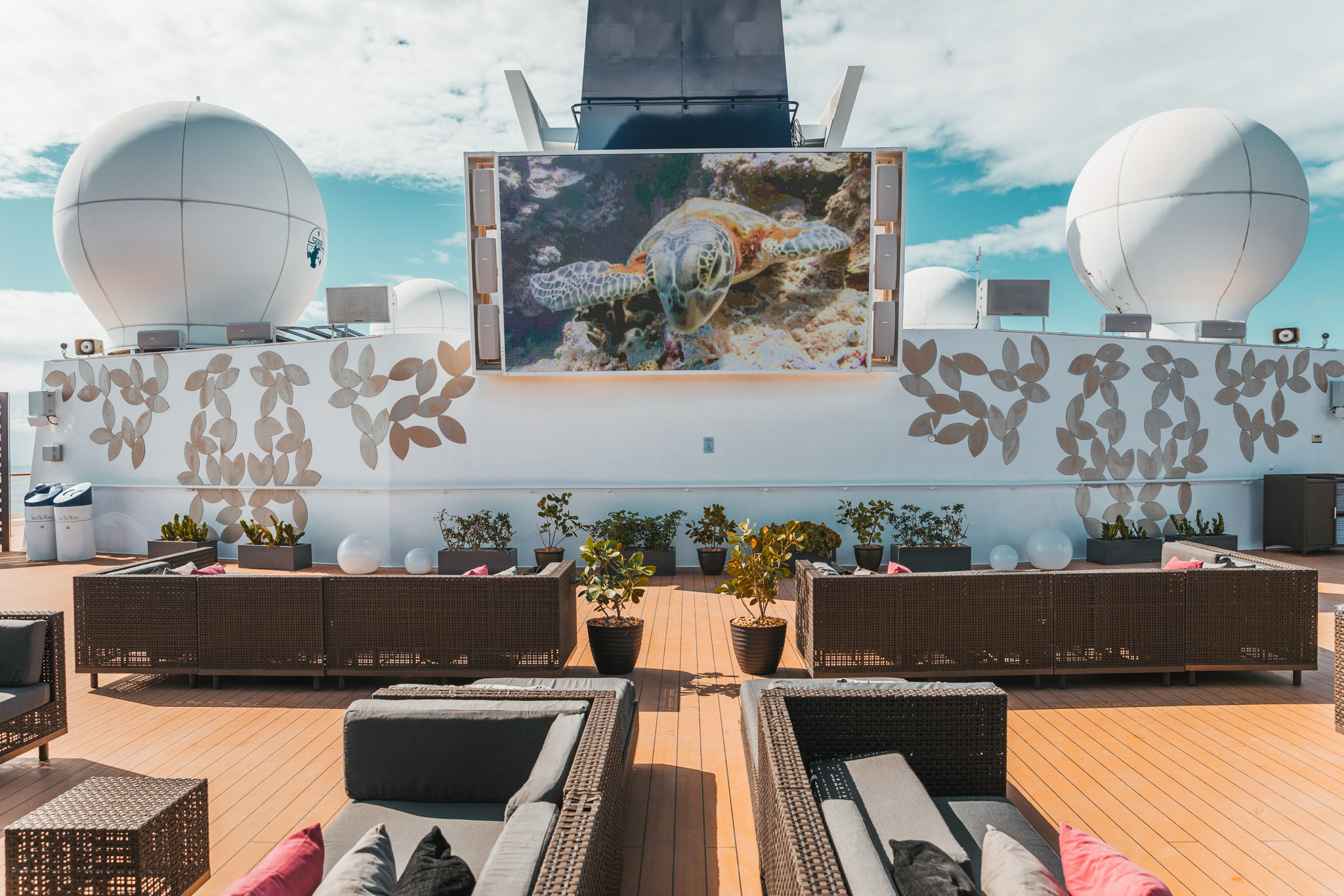 The outdoor cinema Rooftop Terrace on Deck 12 on the Celebrity Summit