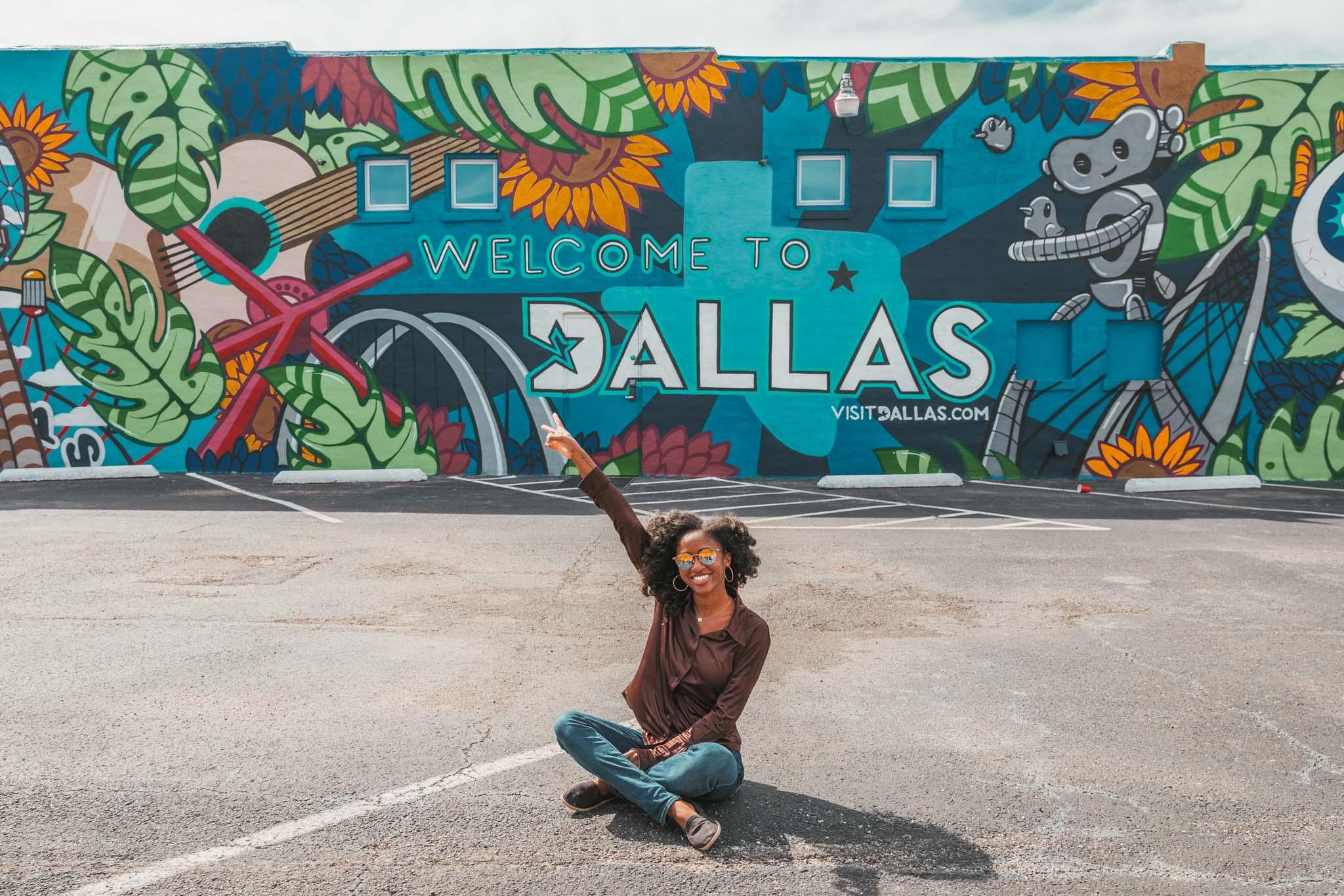 Welcome to Dallas mural in Deep Ellum neighborhood of Dallas, Texas