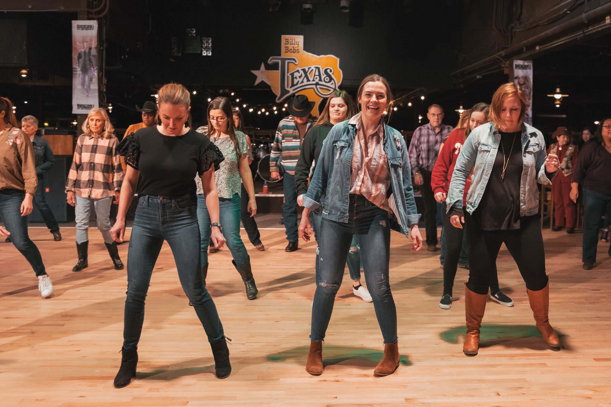 Line dancing lessons at Billy Bob's Texas honky tonk in Fort Worth