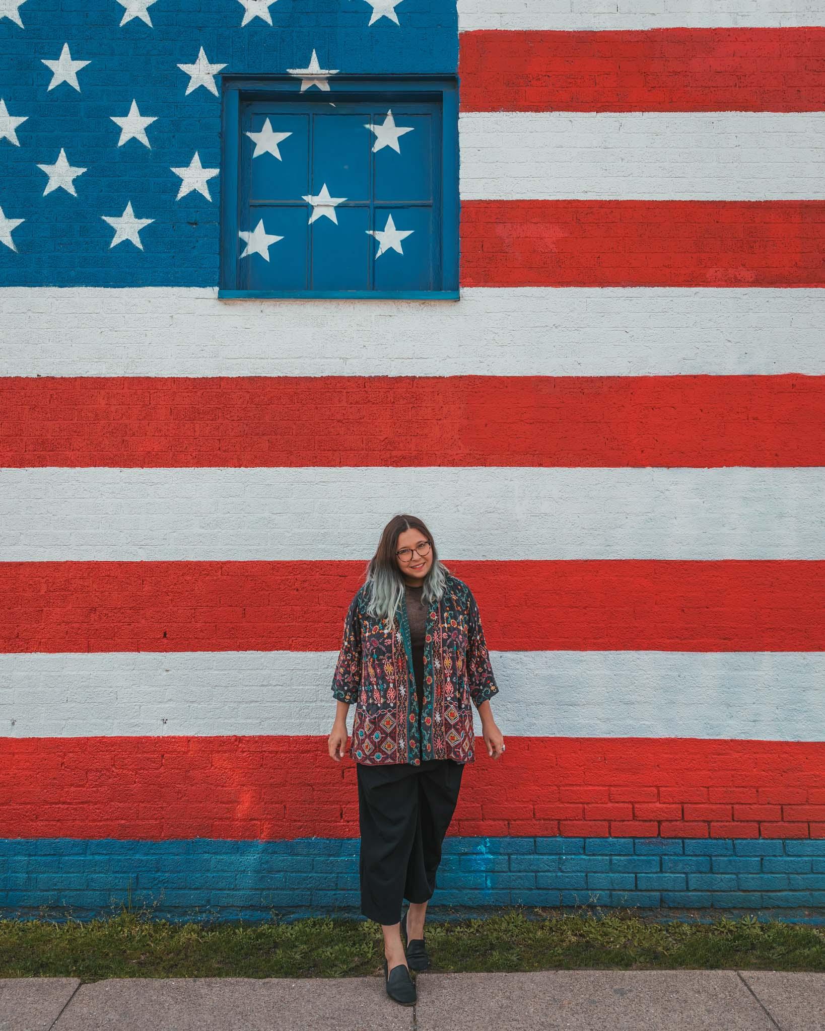 American flag mural in Deep Ellum, Dallas, Texas