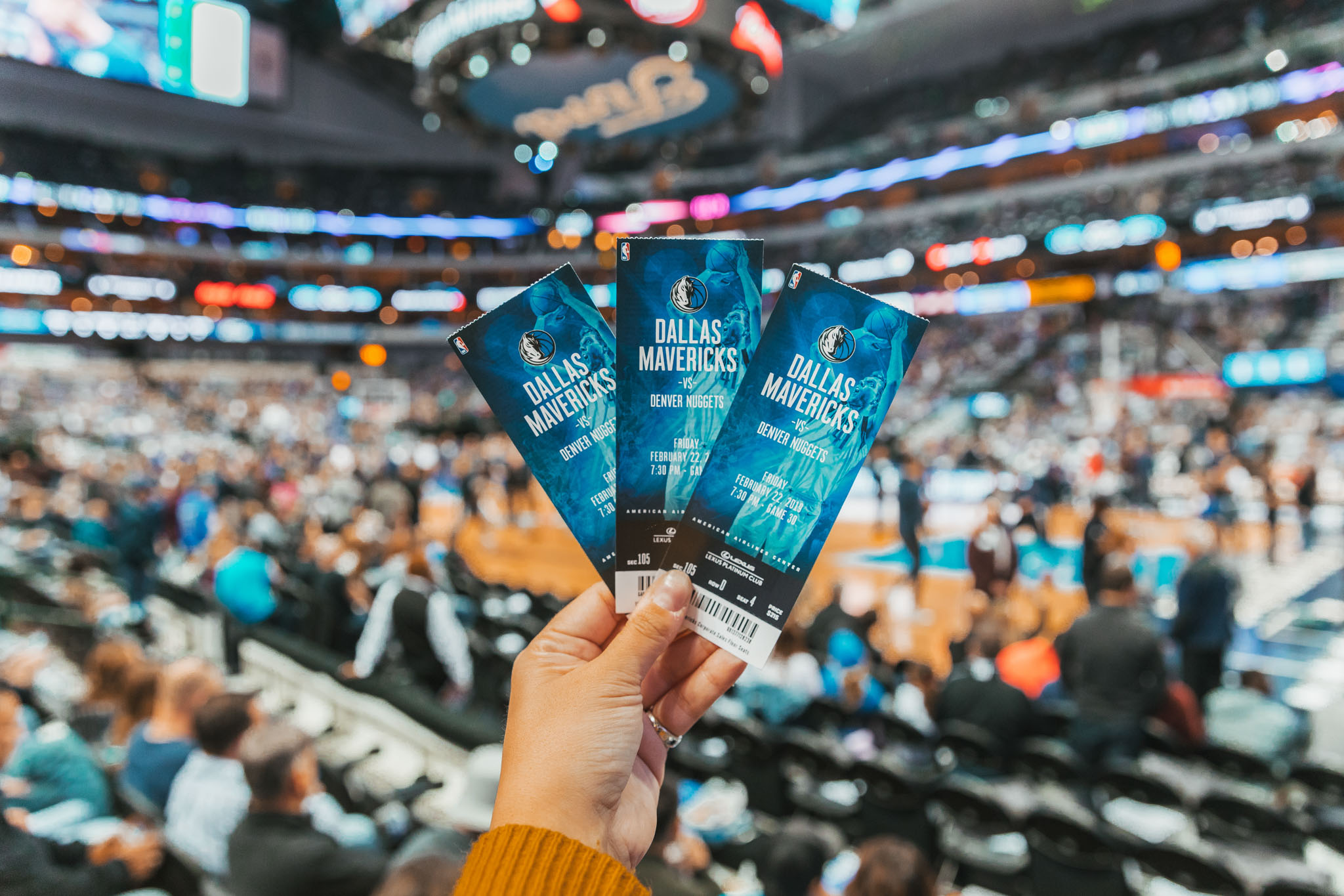 Dallas Mavericks basketball tickets inside the arena