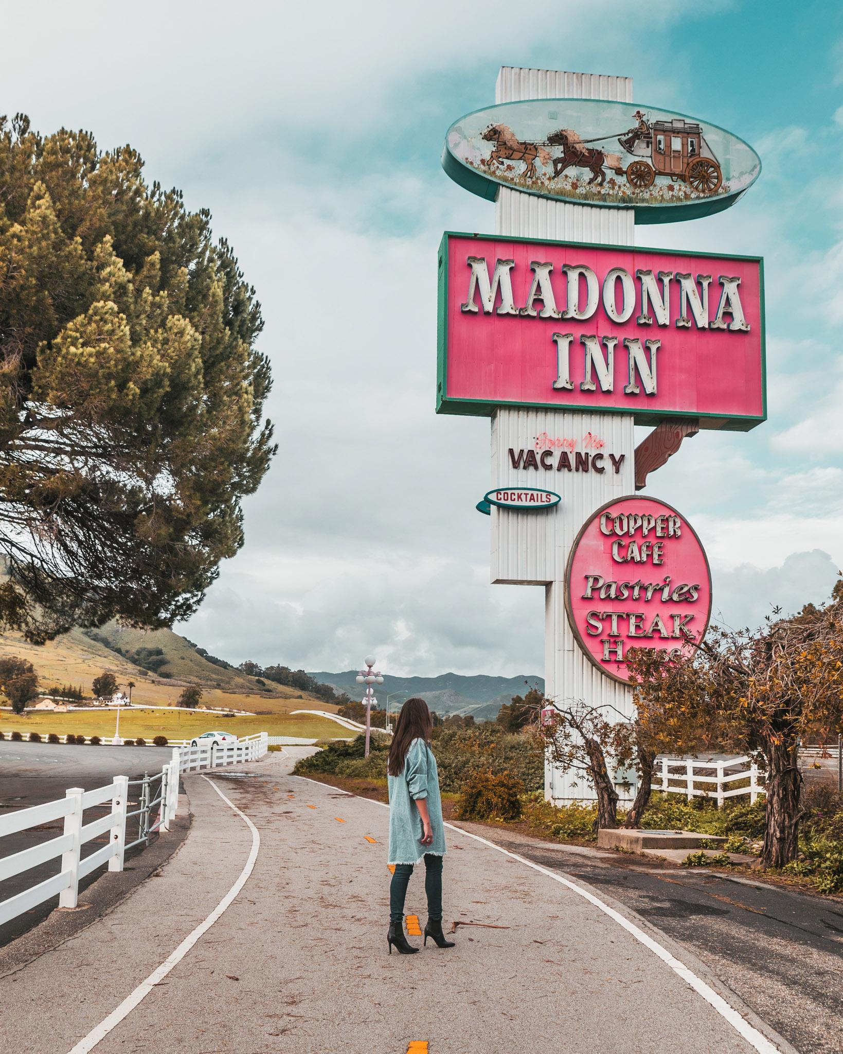 Madonna Inn sign ~ The Most Instagrammable Spots in SLO CAL County ~ #readysetjetset #slocal #california #blogpost #travel #sanluisobispo