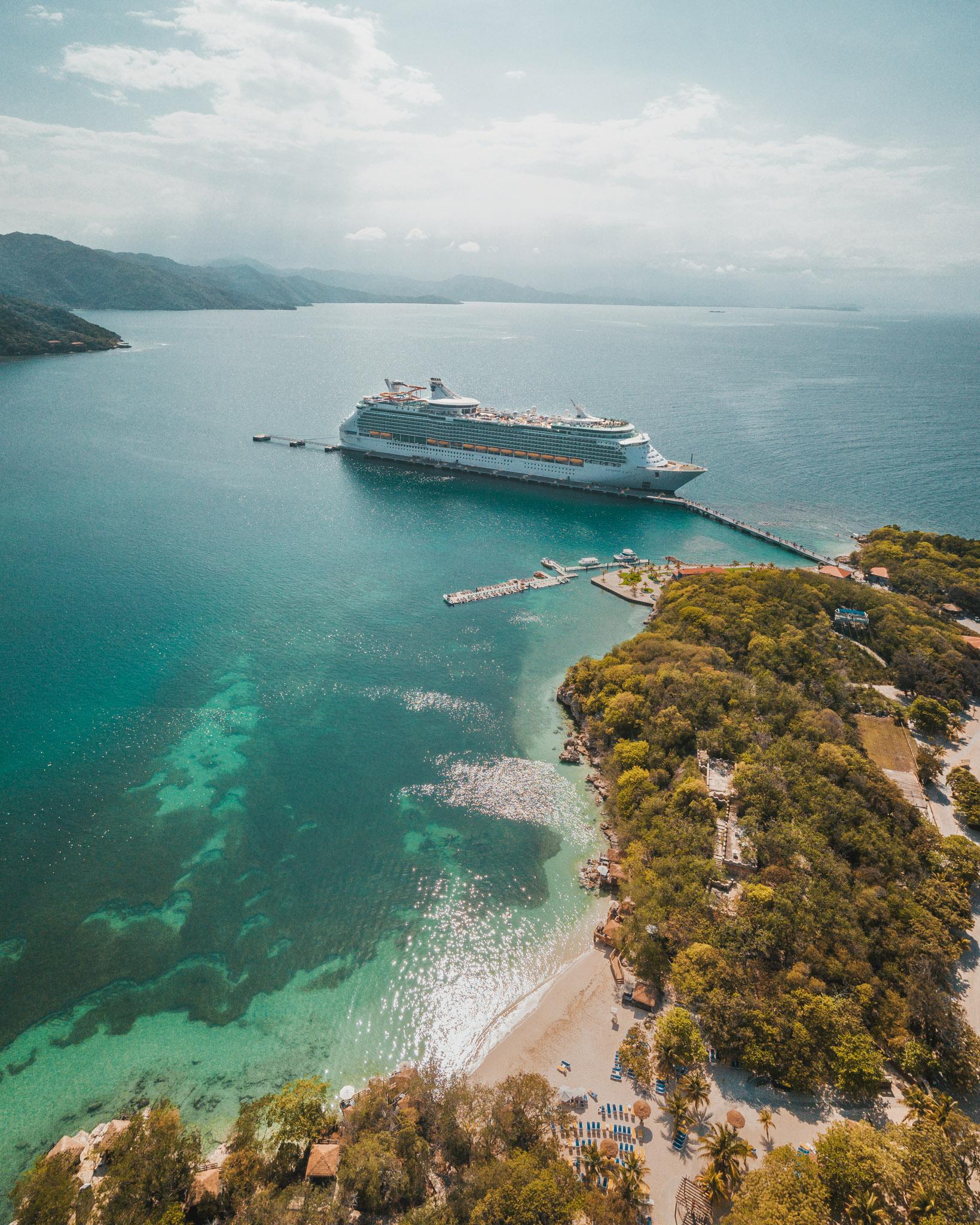 Drone shot of the Navigator from Labadee Haiti ~ Cruise Review: Royal Caribbean Navigator of the Seas