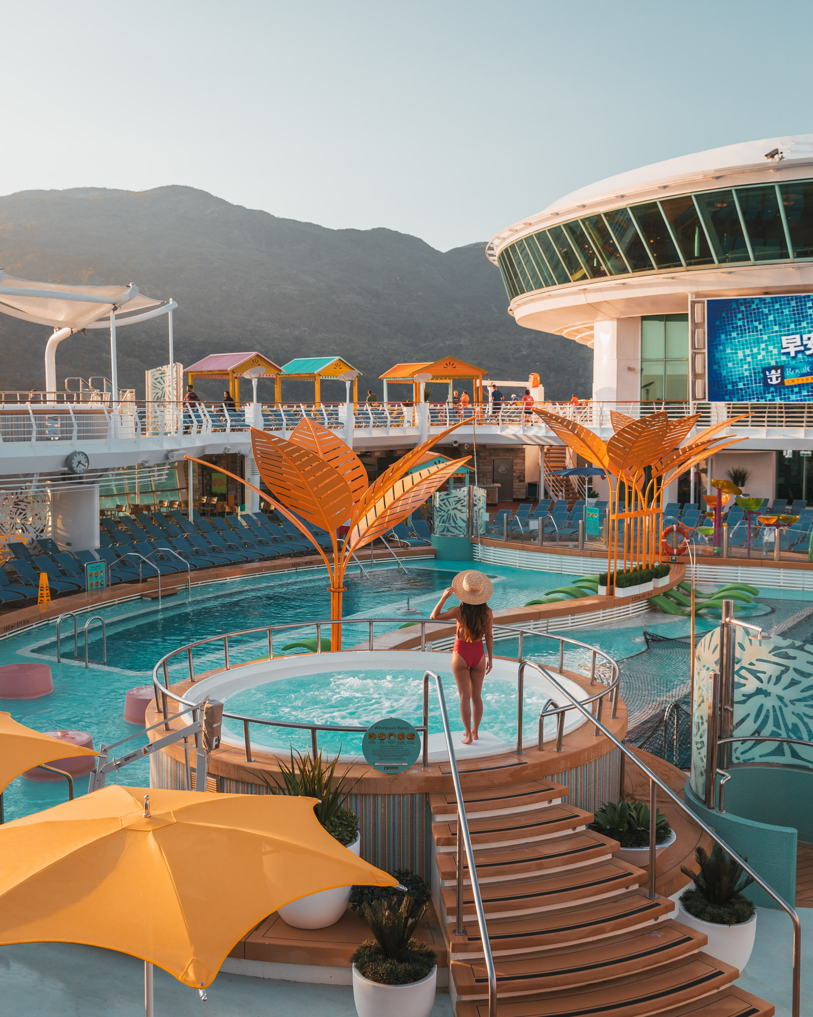 Hot tub on the pool deck ~ Cruise Review: Royal Caribbean Navigator of the Seas