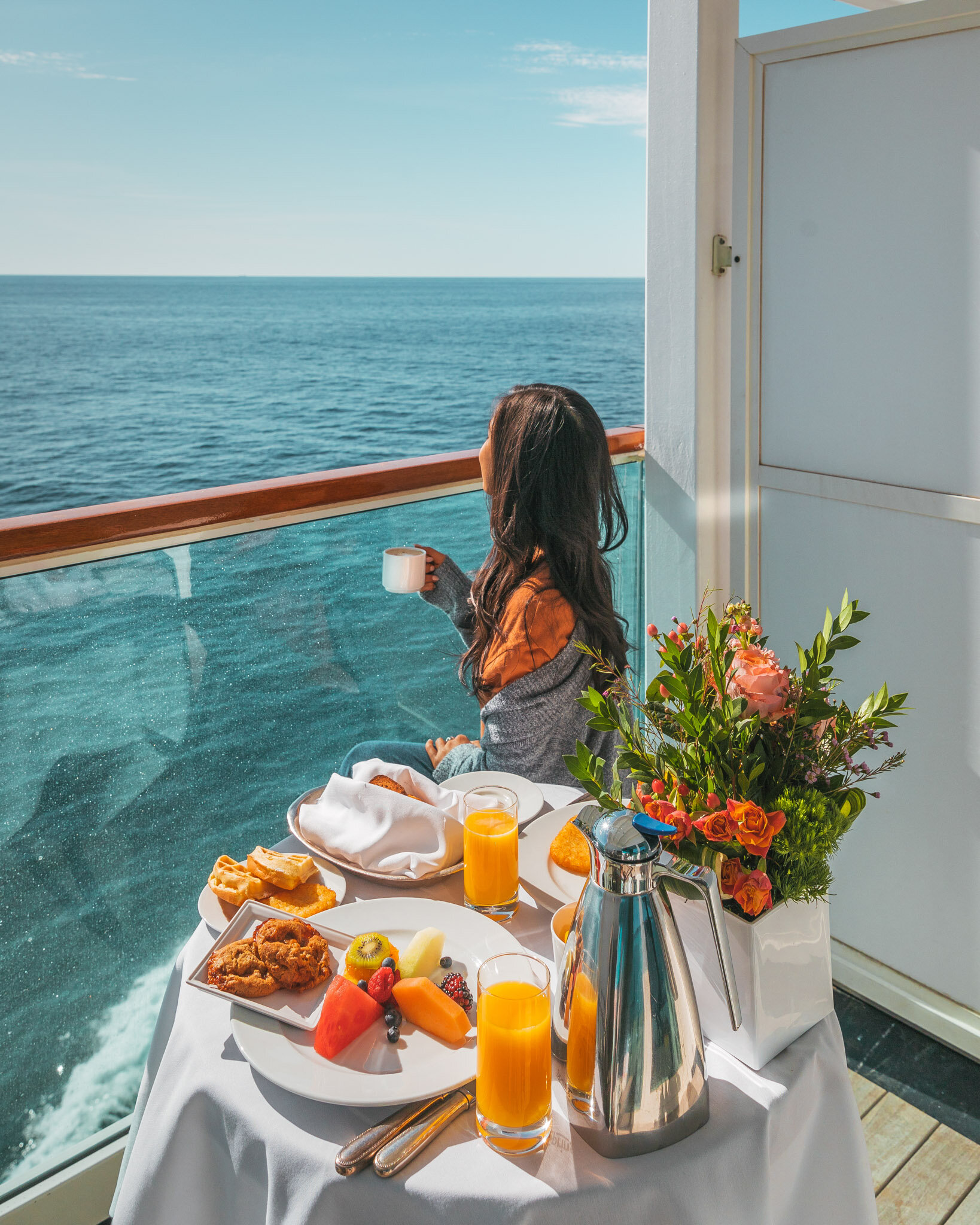 Breakfast on our balcony // Cruise Review: 11-Day New England & Canada on the Seabourn Quest // #readysetjetset #canada #cruise #luxury #travel #cruising