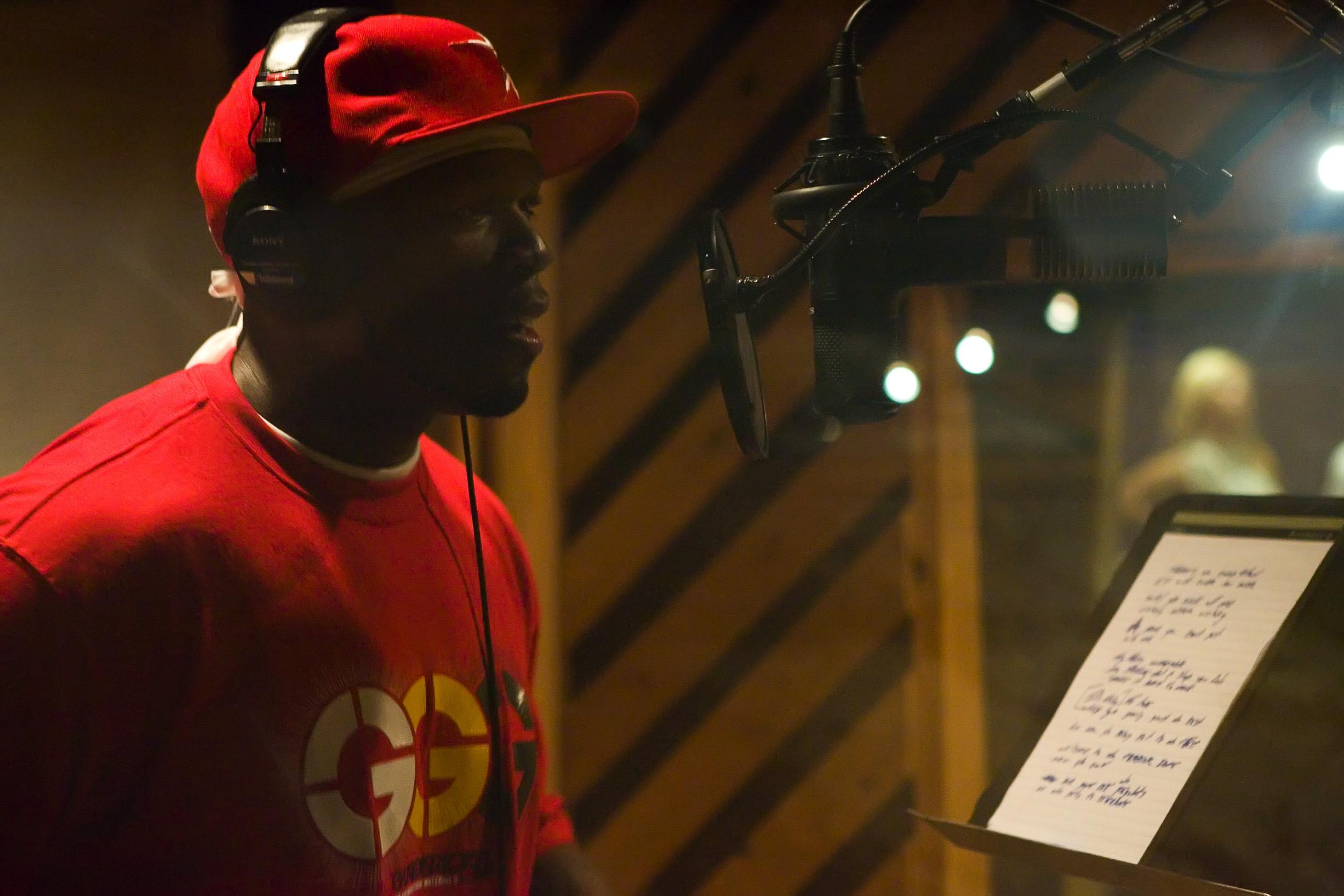 "50 Cent recording ""Celebrate"""
