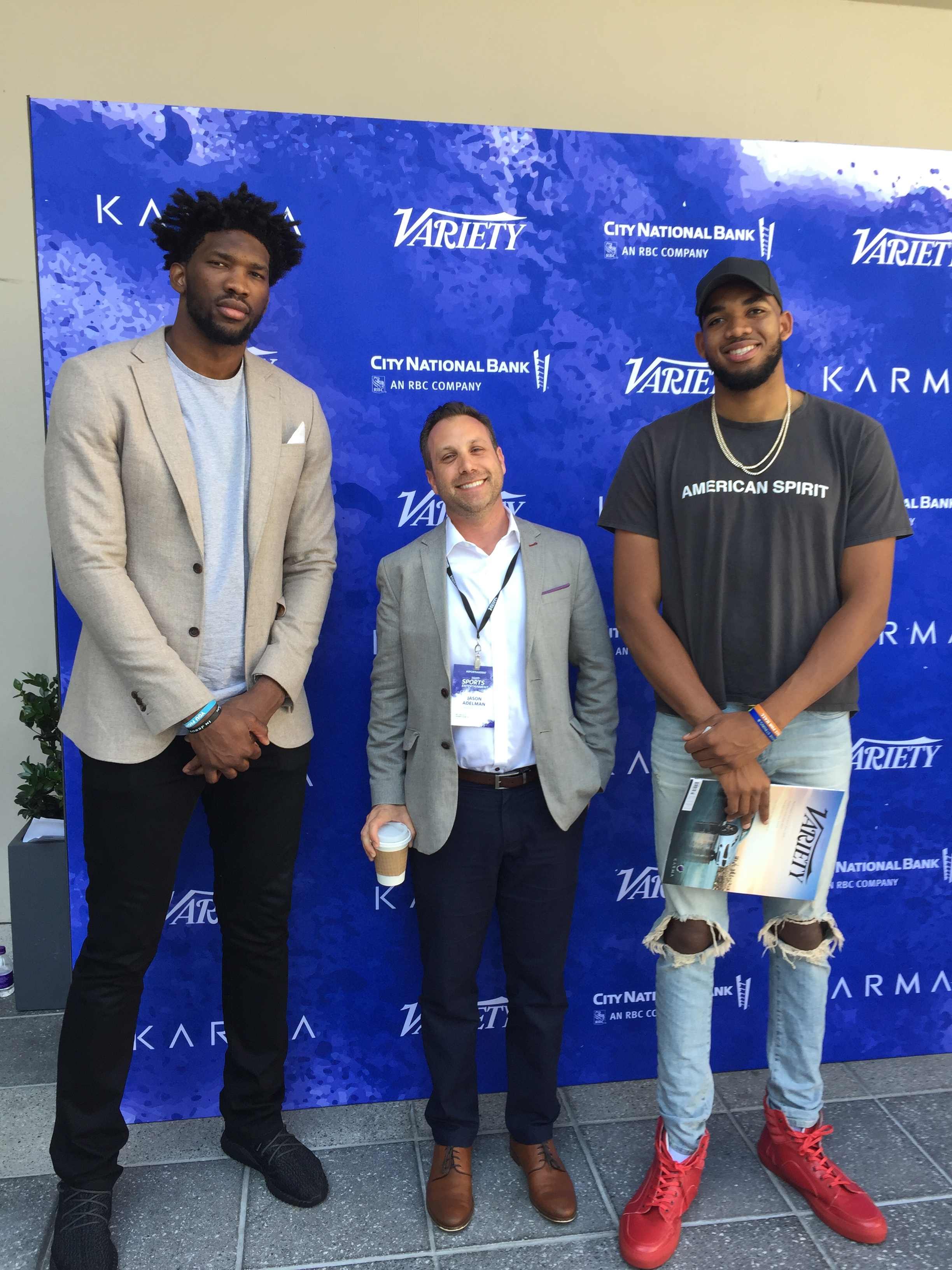 Philadelphia 76ers' Joel Embiid, HABANA Avenue's Jason Adelman & Minnesota Timberwolves' Karl-Anthony Towns at the 2017 Variety Sports & Entertainment Summit