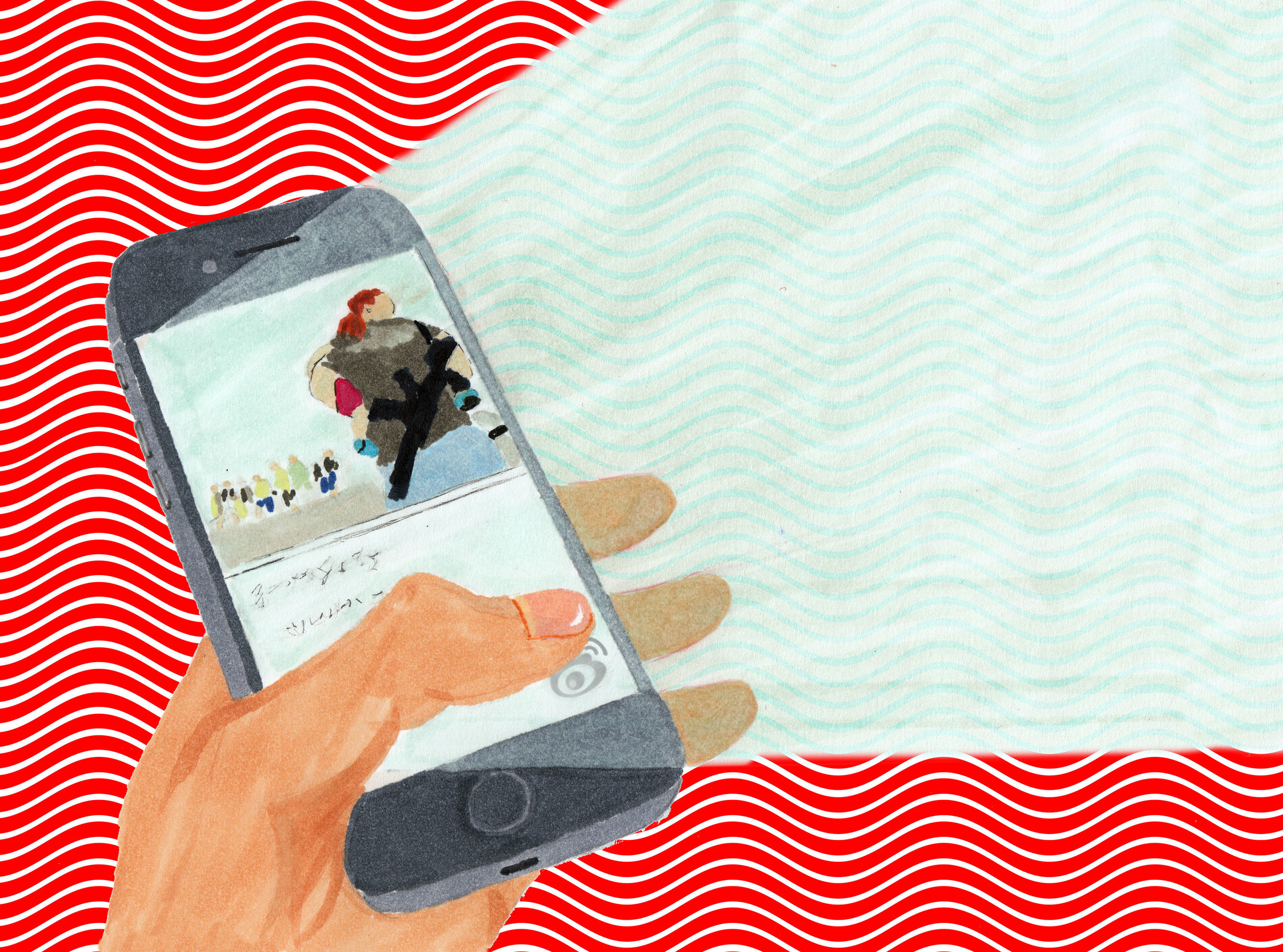 An illustration by Hannah Bae on the spread of misinformation via Chinese social networks