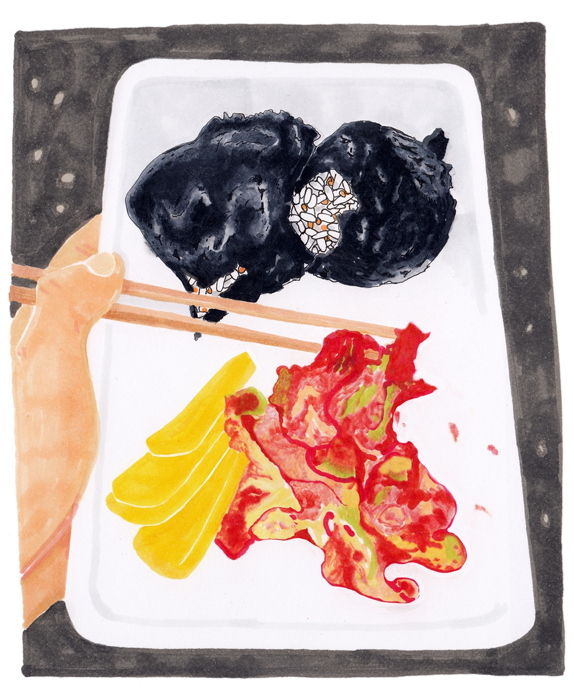 A lunch of rice balls, kimchi and sweet danmuji radish that Hannah ate at Gwangju's May 18 National Cemetery last year. (Drawing by Adam Oelsner)