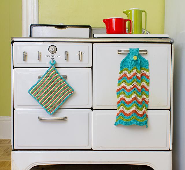 Old Shale kitchen towel & potholder