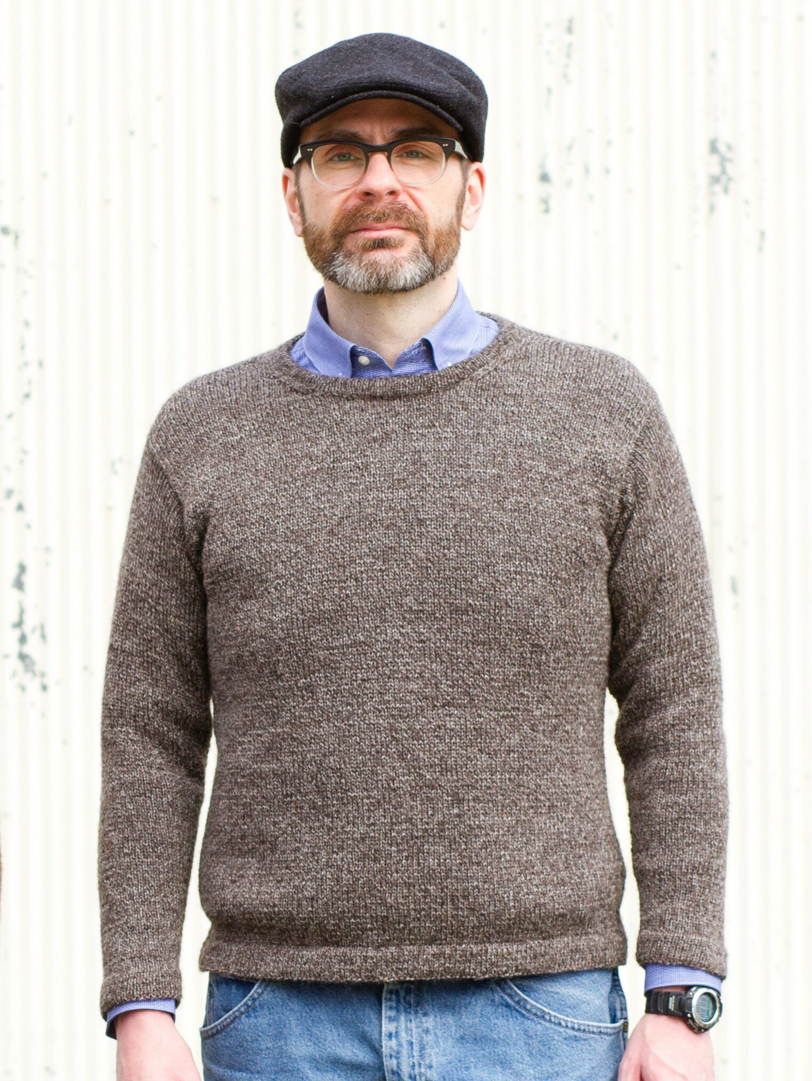 Stephen's woolly marled Abram sweater in Thirteen Mile yarn