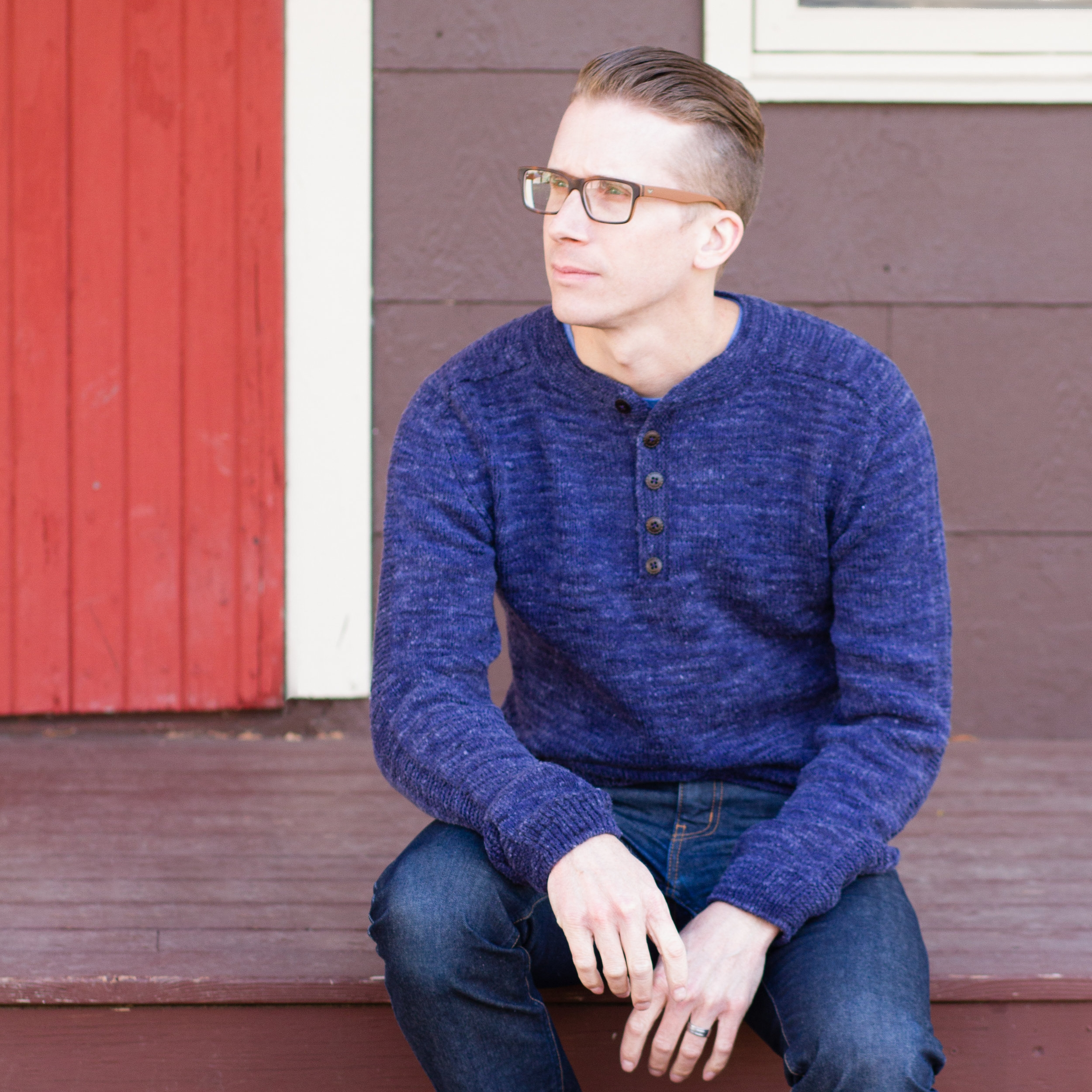 Jason's nubby textured Rushaan sweater in Mountain Meadow Cody