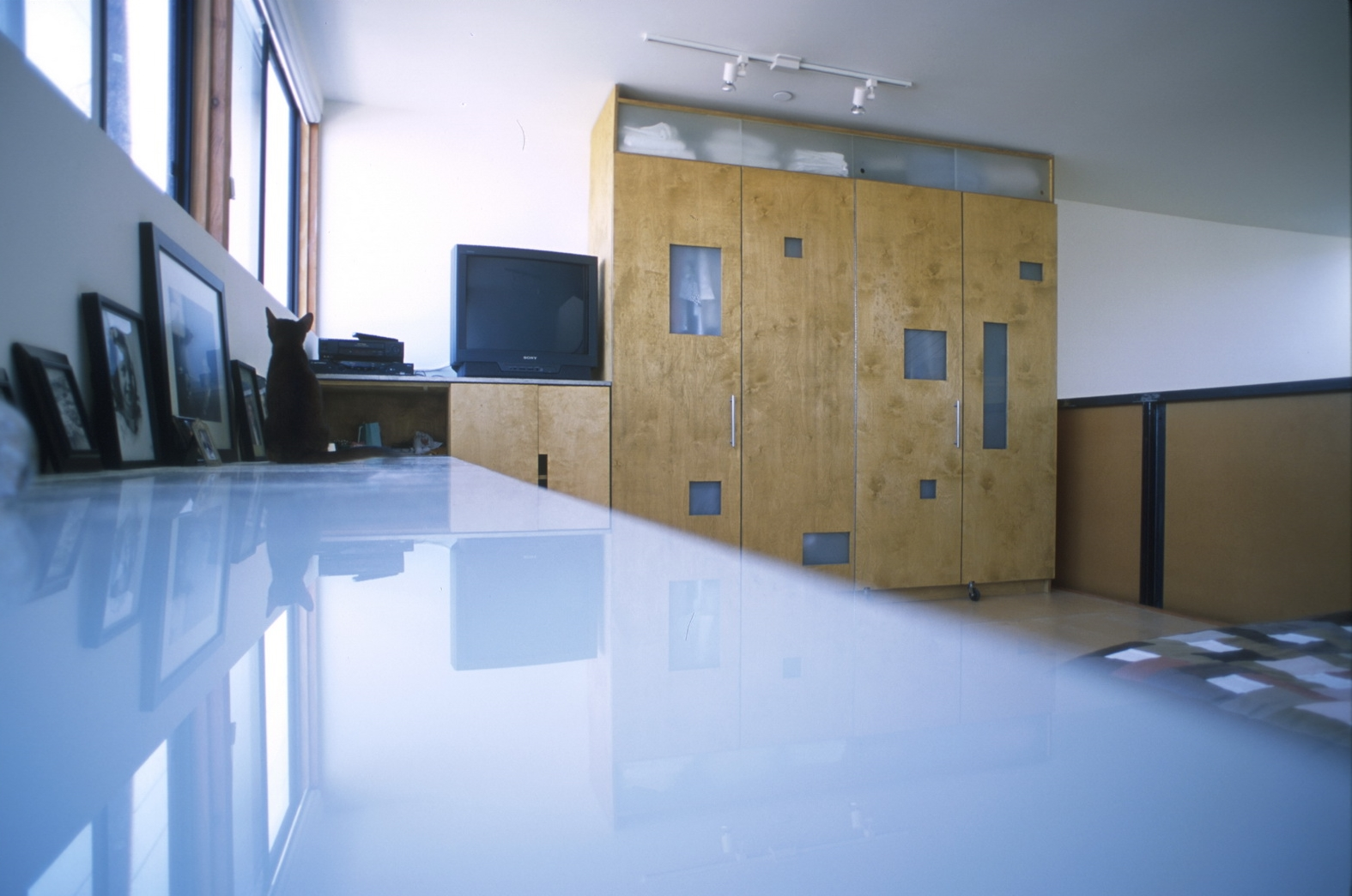 Glass countertops were provided as a contrast to the plywood. Frosted glass openings were also provided in the privacy screen to play up the division of space.