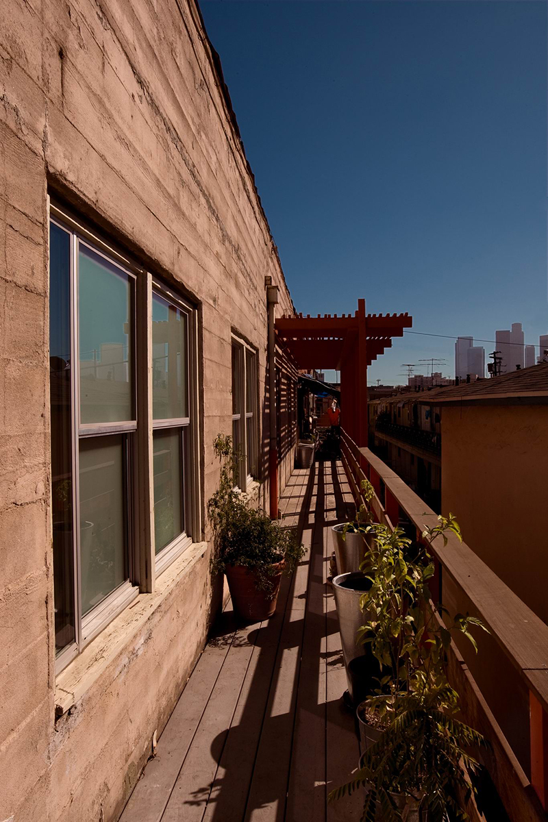 The rear balcony provides additional garden space as well as spectacular views of the downtown skyline.
