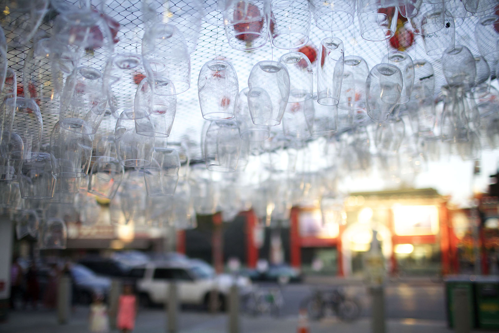 A detail view of the suspended glasses