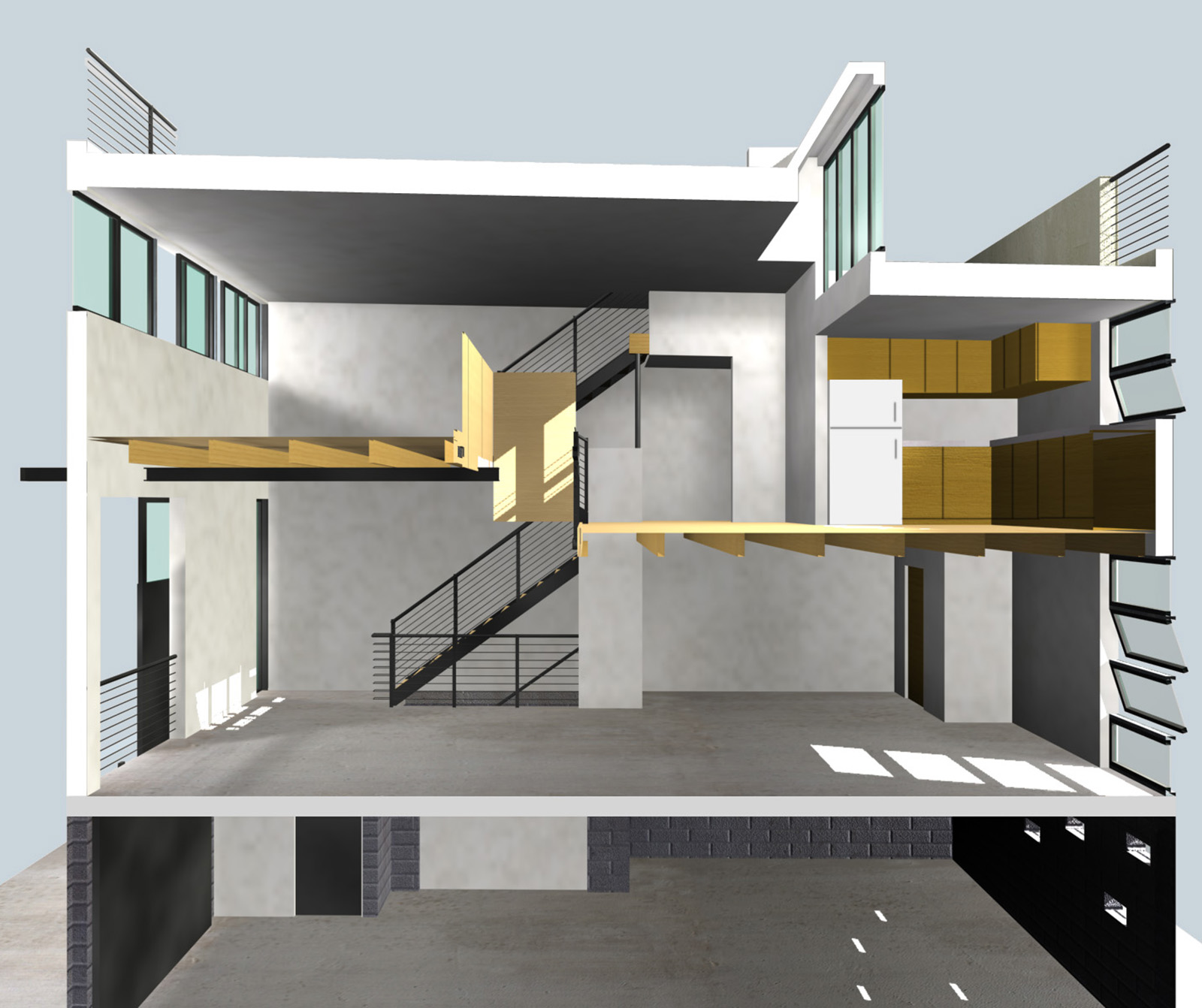 A section through a typical unit showing the relationship of the parking to working to living to leisure on the roof.