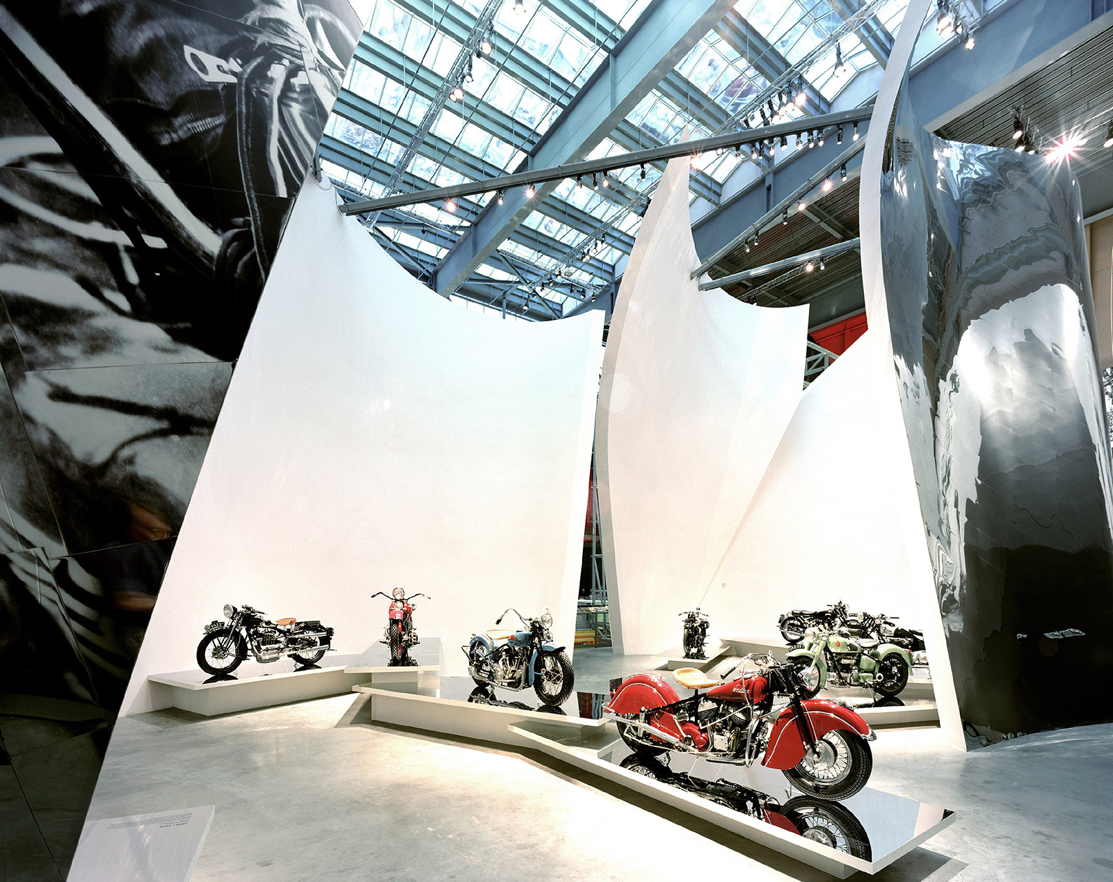 …are displayed thepieces in the motorcycle collection.