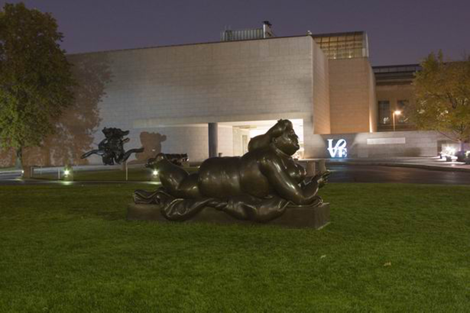 Lighting and Installation of Outdoor Sculptures. The collection includes yachts from the Americas Cup, Boteros, Picassos, antiquities, Native American Art and Artifacts, Western Artifacts, and Model Ships.