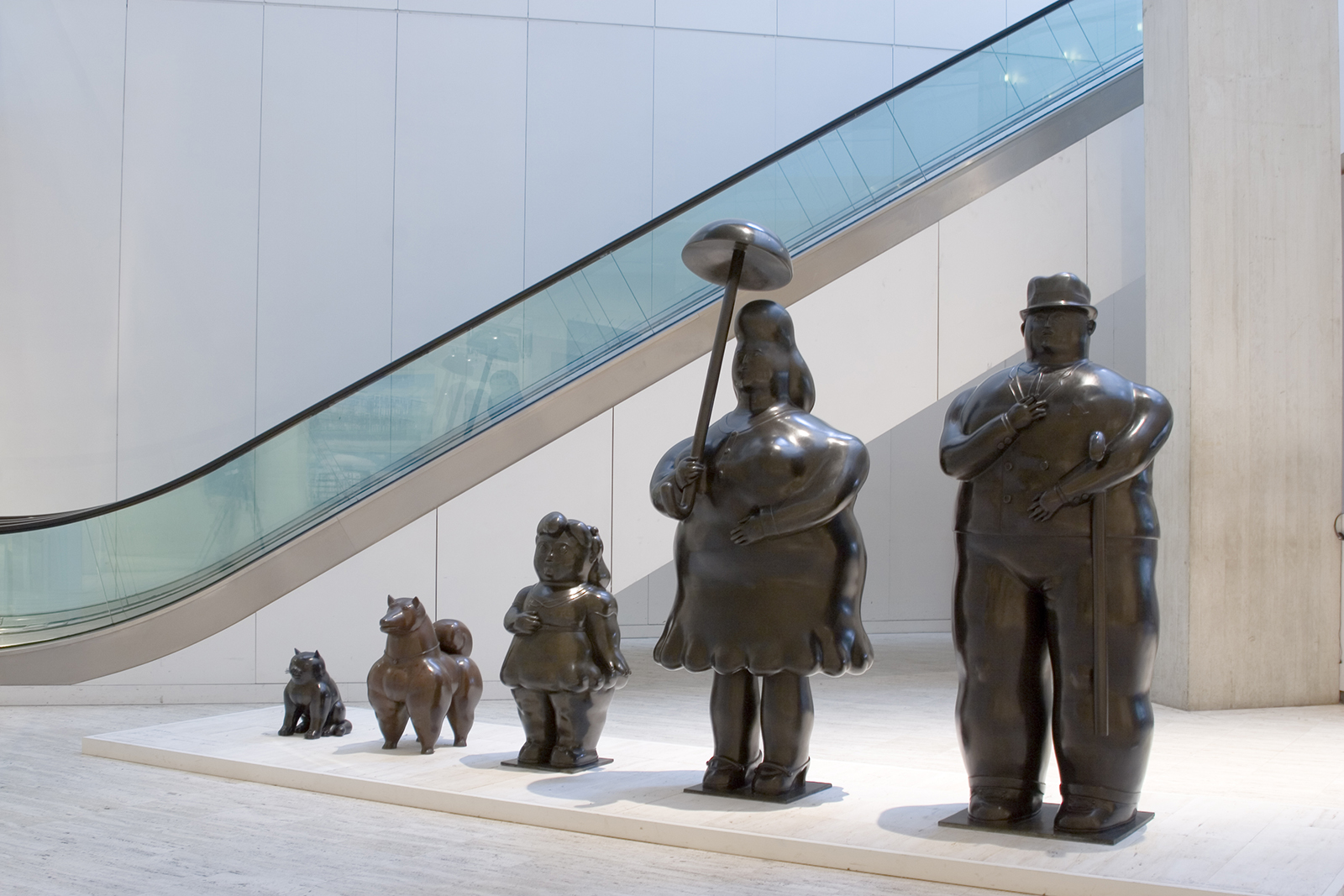 Botero's Family located in the main lobby of the Museum on a travertine base.