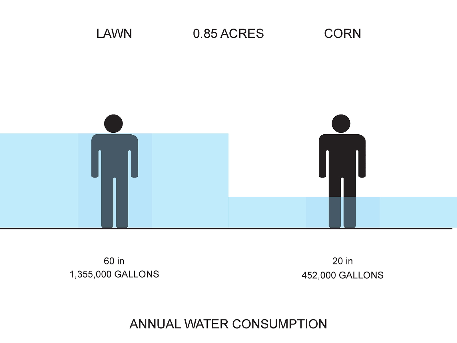 Annual water consumption of each.