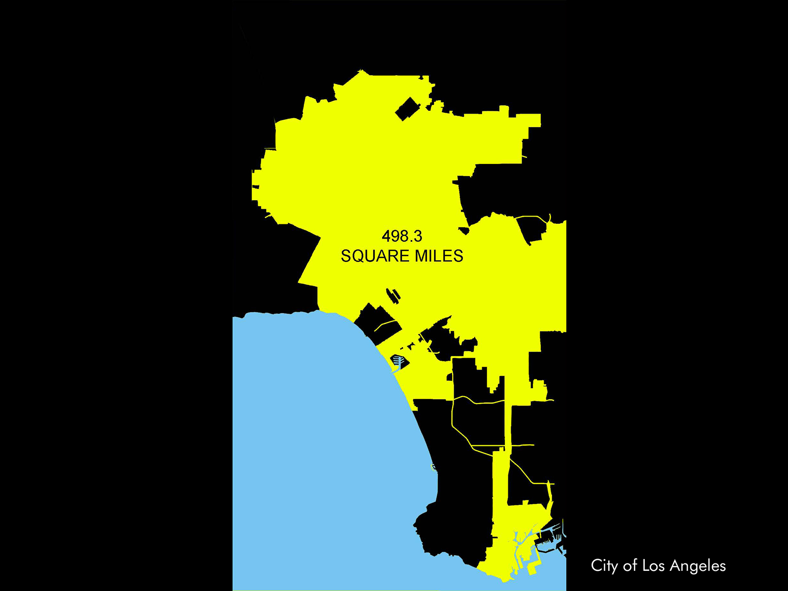 Los Angeles city limits encompass 498.3 square miles.